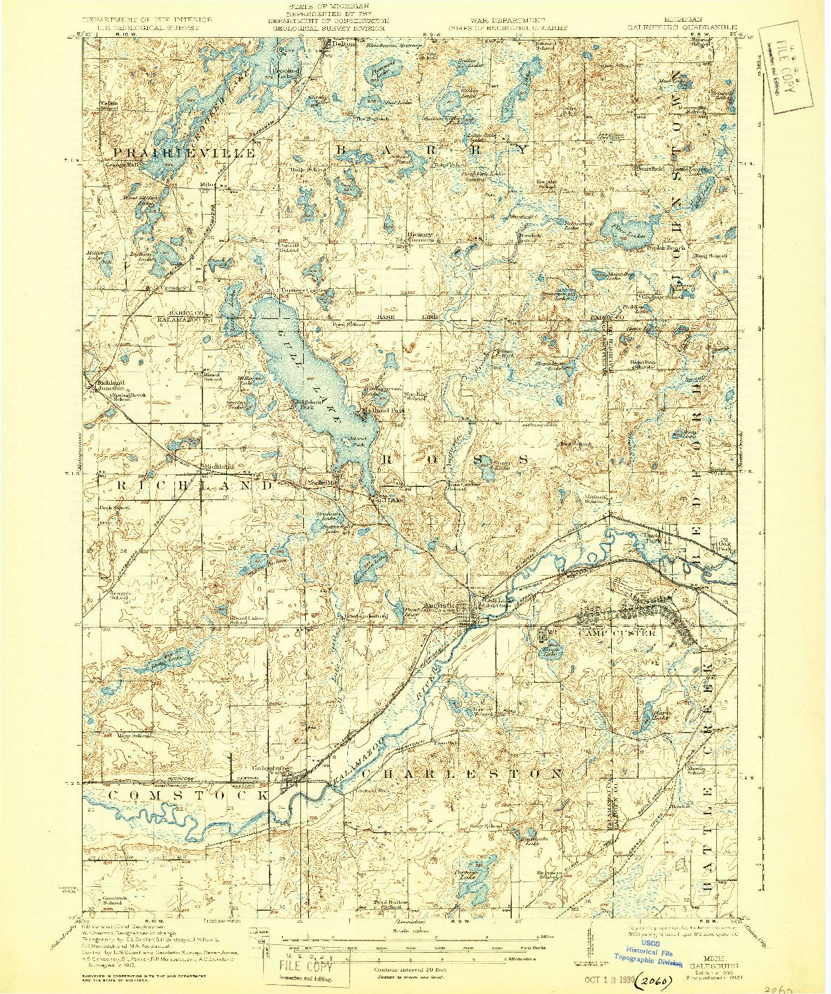 USGS 1:62500-SCALE QUADRANGLE FOR GALESBURG, MI 1918