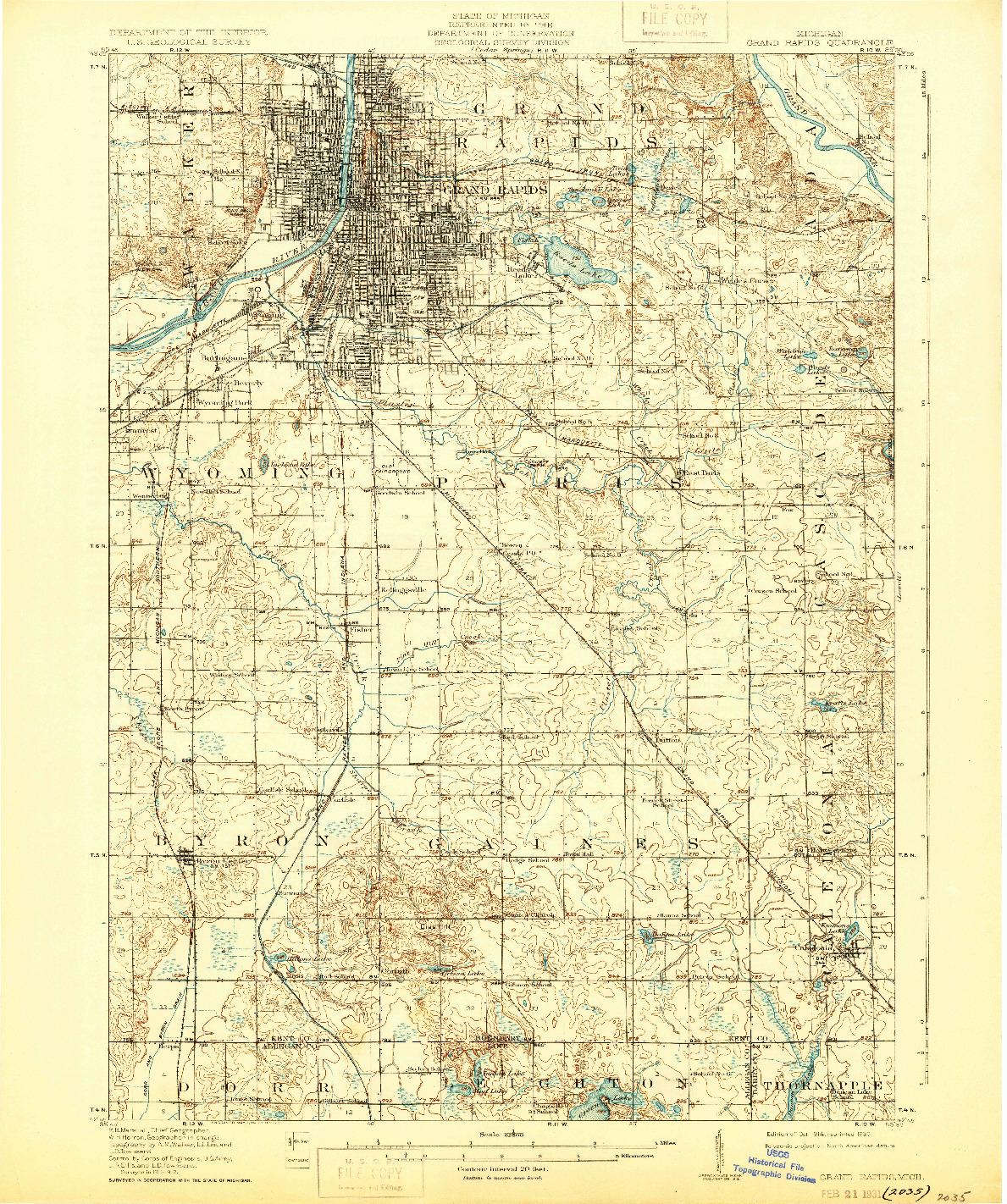 USGS 1:62500-SCALE QUADRANGLE FOR GRAND RAPIDS, MI 1914