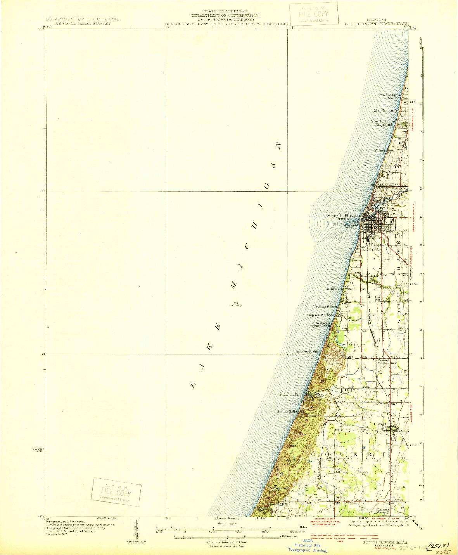 USGS 1:62500-SCALE QUADRANGLE FOR SOUTH HAVEN, MI 1930