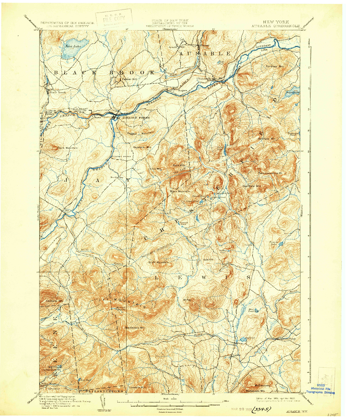 USGS 1:62500-SCALE QUADRANGLE FOR AUSABLE, NY 1903