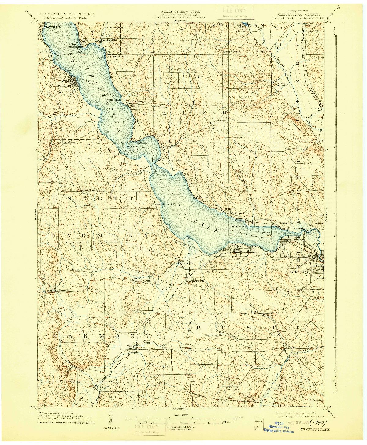USGS 1:62500-SCALE QUADRANGLE FOR CHAUTAQUA, NY 1904