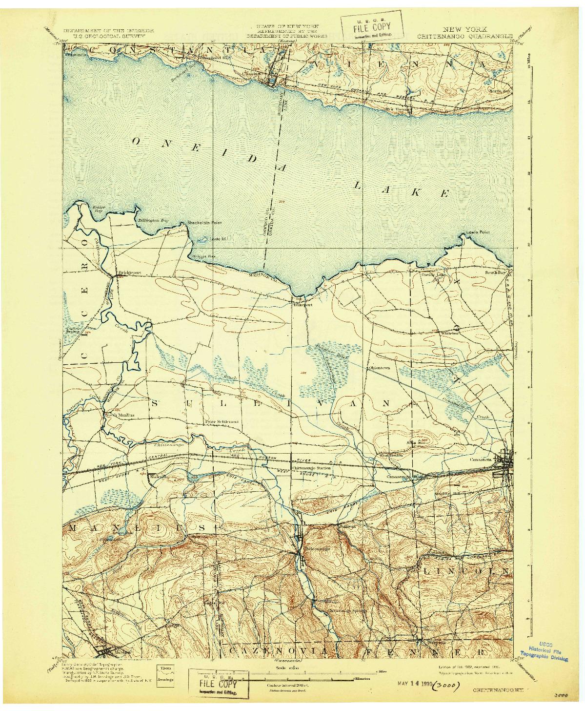 USGS 1:62500-SCALE QUADRANGLE FOR CHITTENANGO, NY 1902