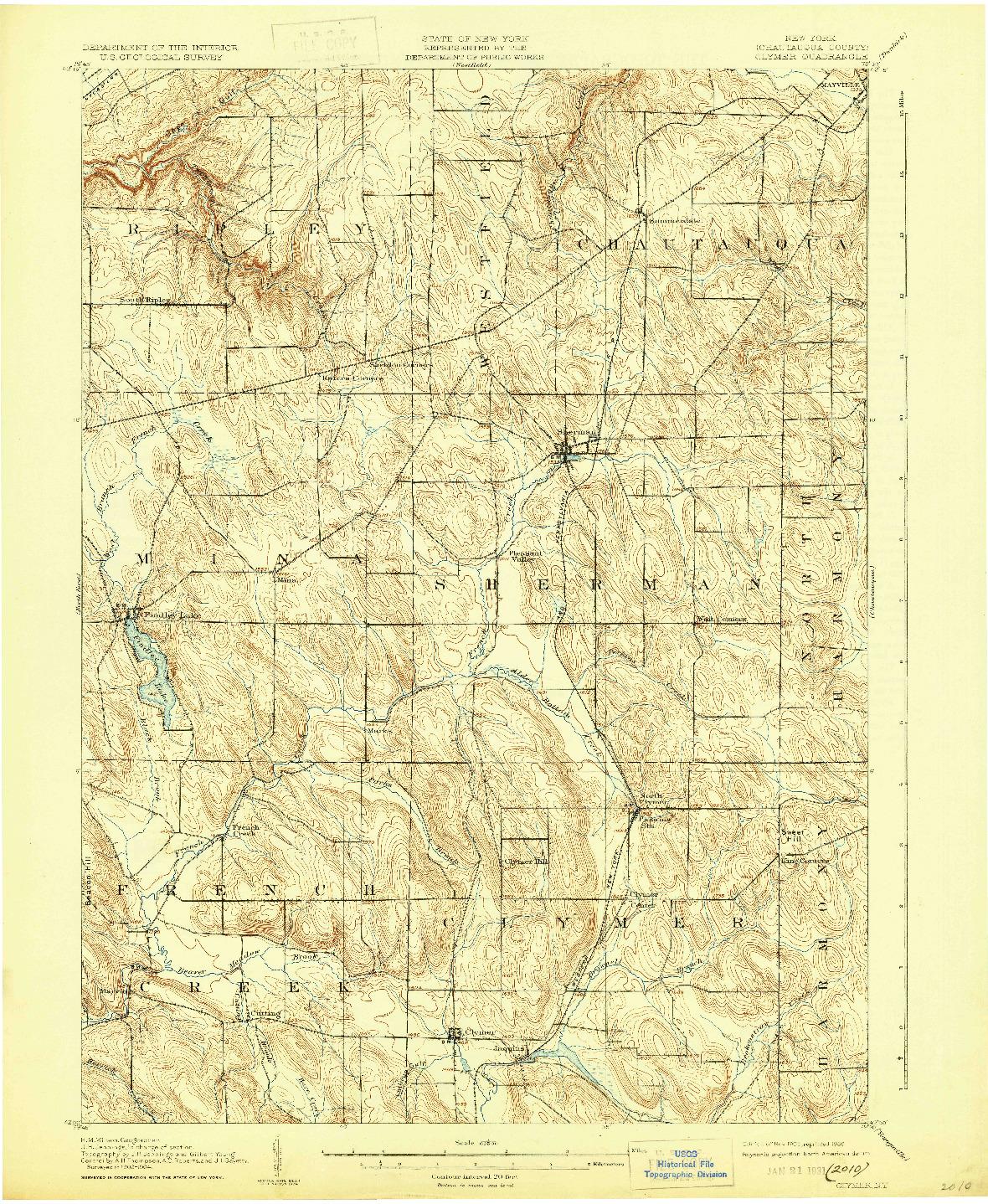USGS 1:62500-SCALE QUADRANGLE FOR CLYMER, NY 1905