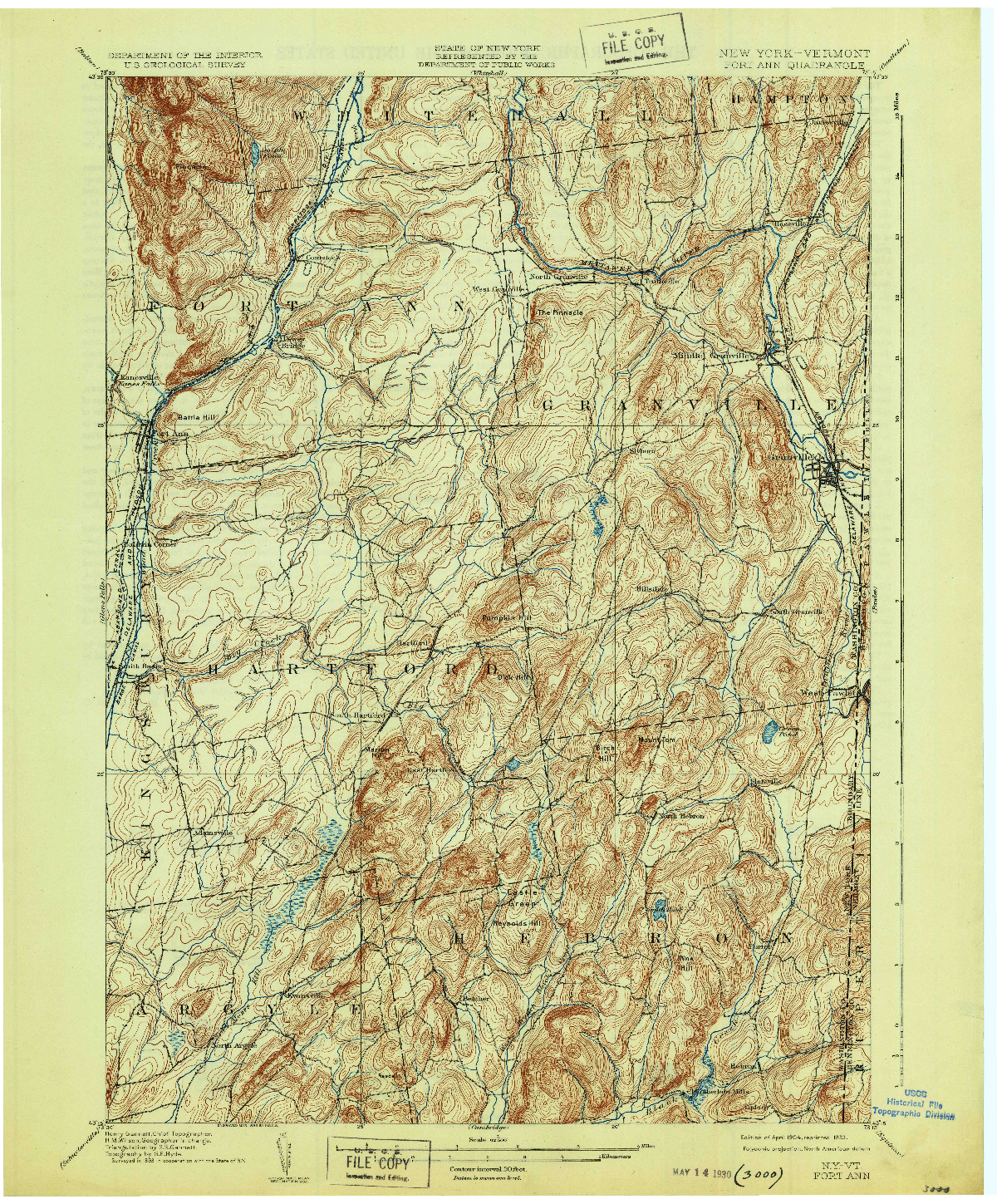 USGS 1:62500-SCALE QUADRANGLE FOR FORT ANN, NY 1904