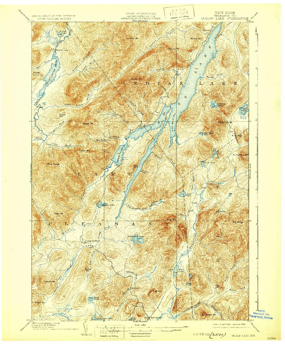 USGS 1:62500-SCALE QUADRANGLE FOR INDIAN LAKE, NY 1902