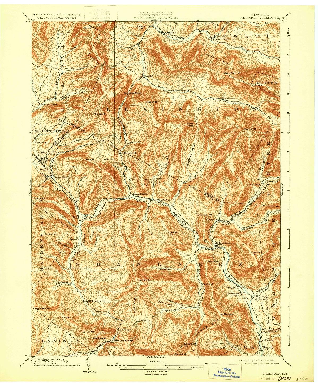 USGS 1:62500-SCALE QUADRANGLE FOR PHOENICIA, NY 1903