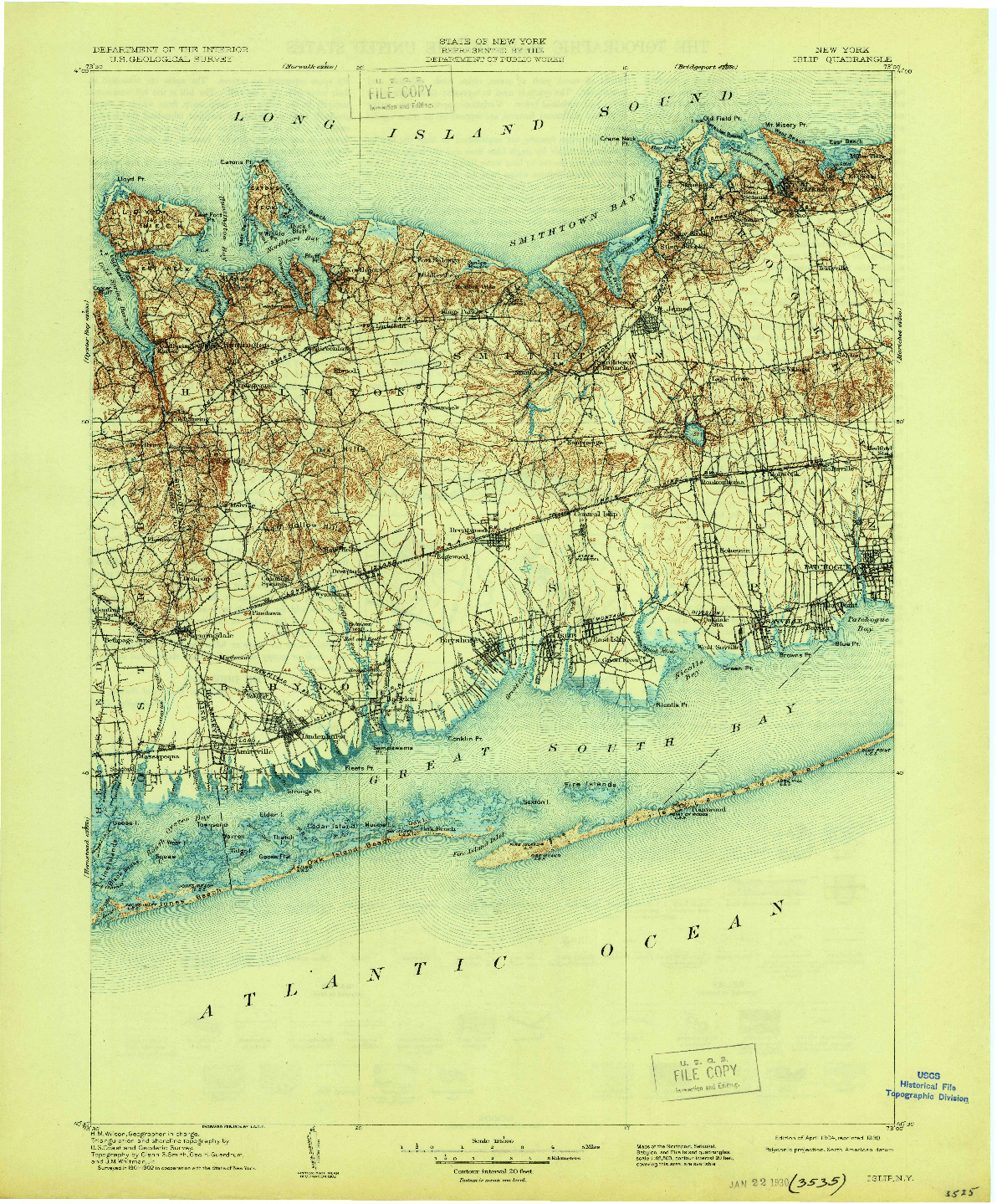 USGS 1:125000-SCALE QUADRANGLE FOR ISLIP, NY 1904