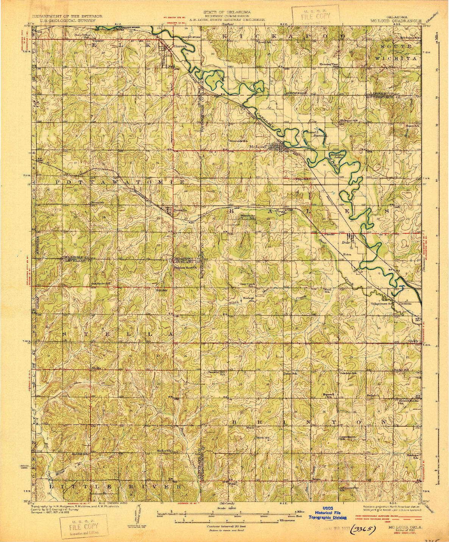 USGS 1:62500-SCALE QUADRANGLE FOR MCLOUD, OK 1930