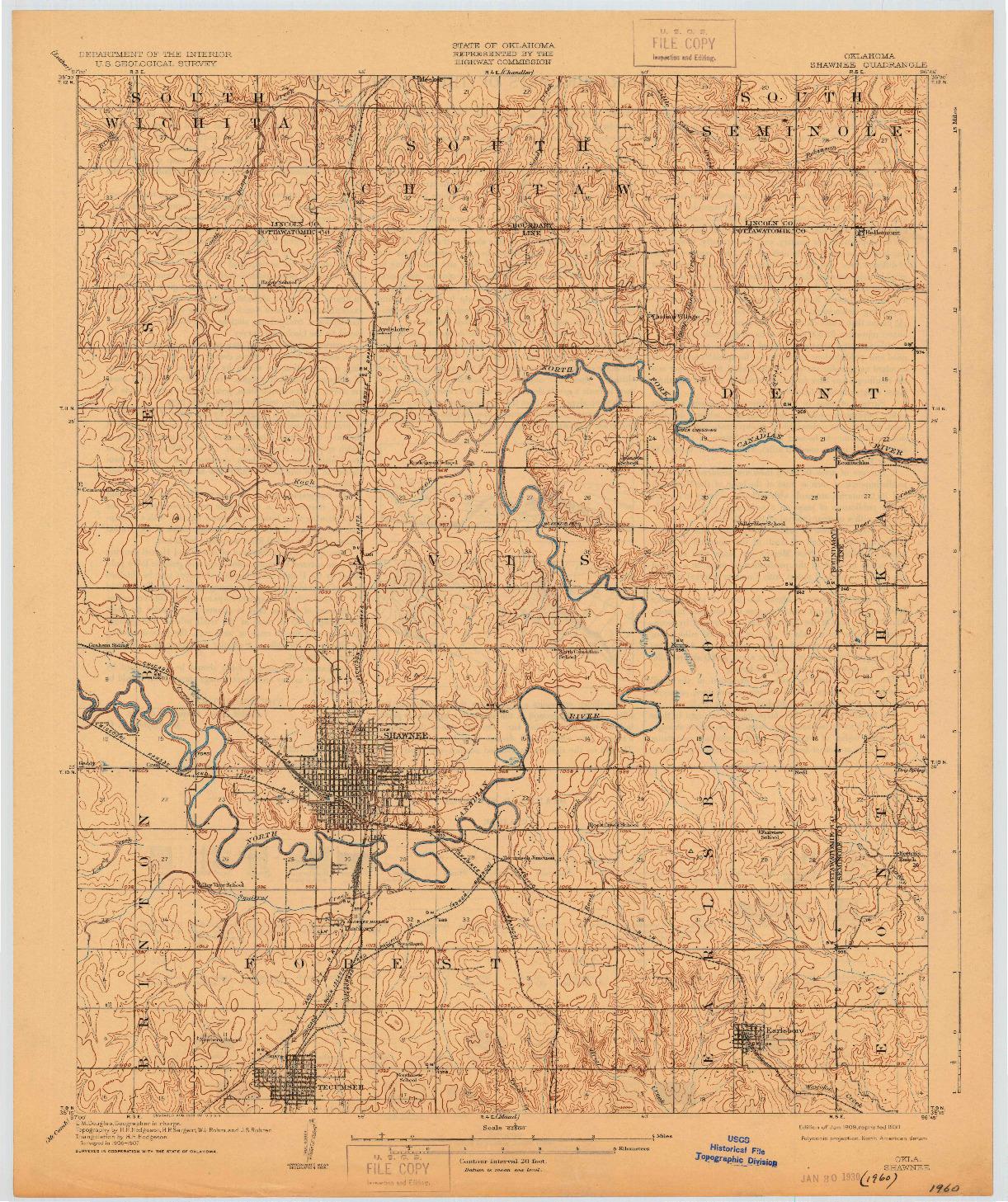USGS 1:62500-SCALE QUADRANGLE FOR SHAWNEE, OK 1909