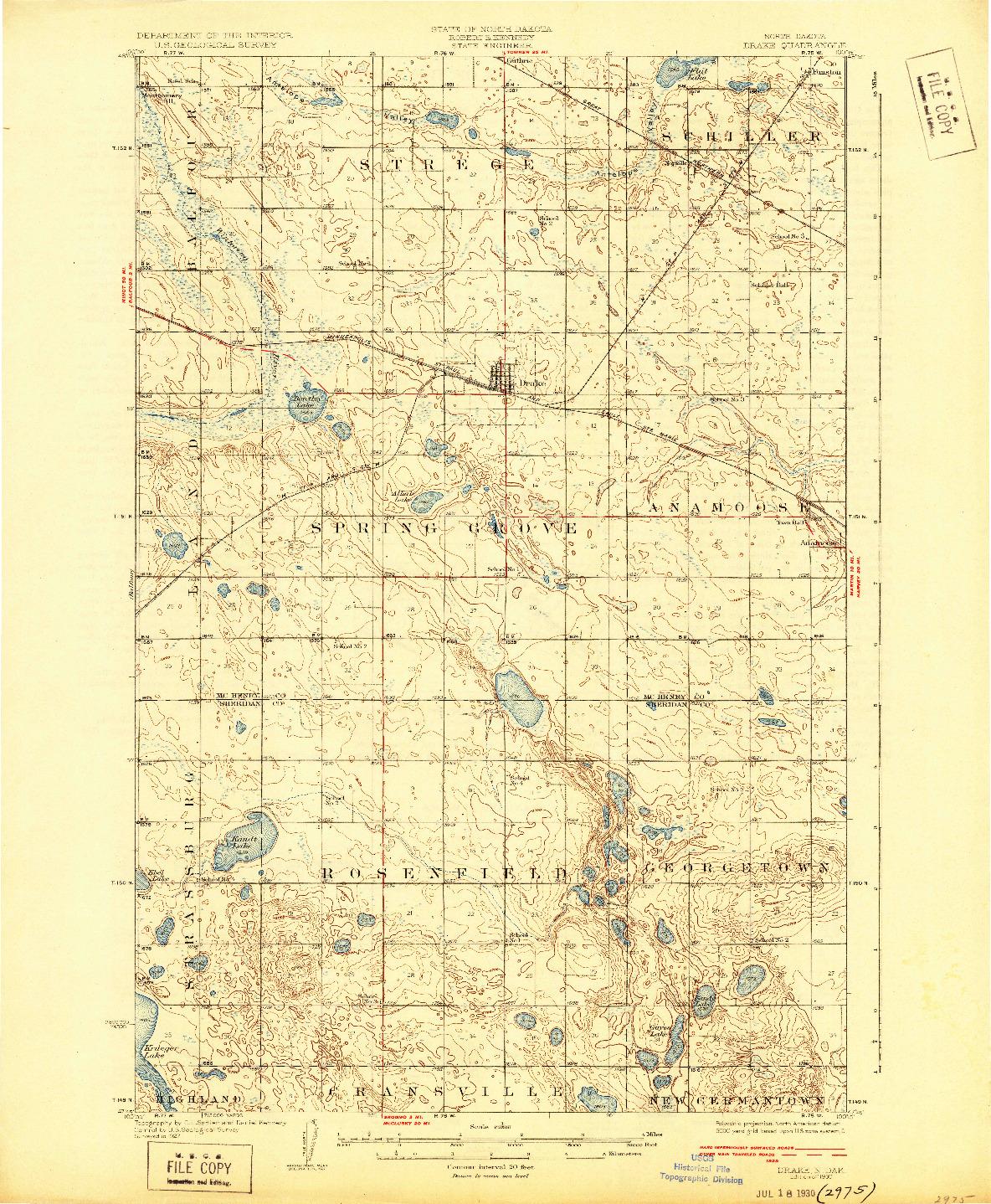 USGS 1:62500-SCALE QUADRANGLE FOR DRAKE, ND 1930
