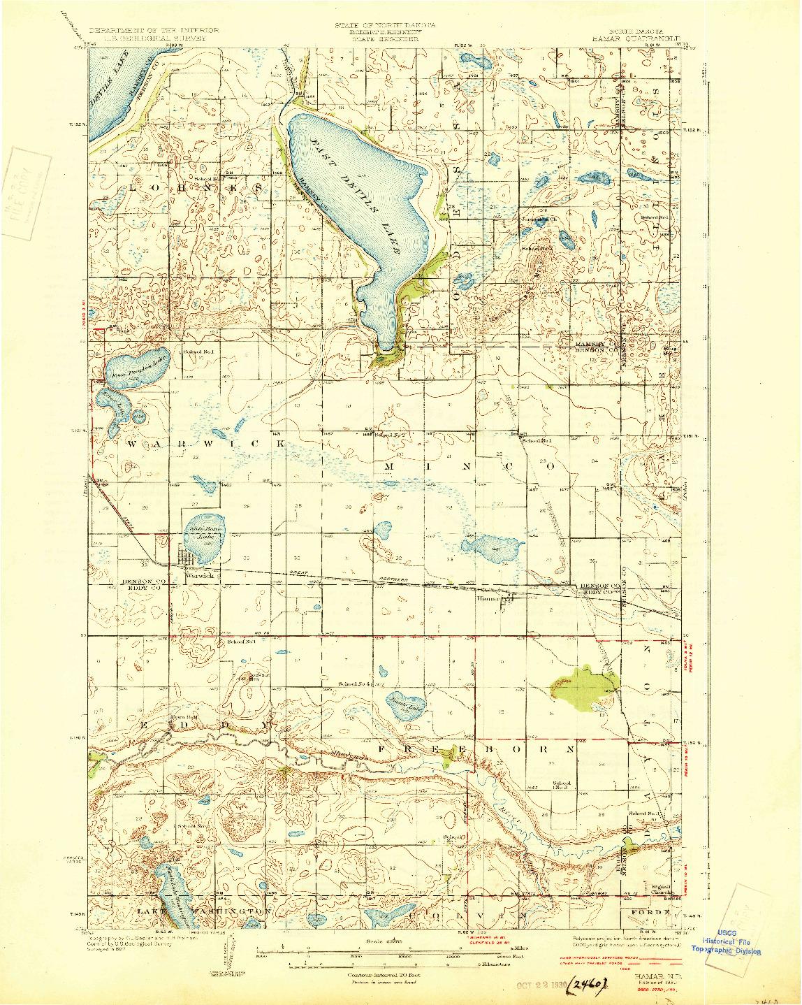 USGS 1:62500-SCALE QUADRANGLE FOR HAMAR, ND 1930