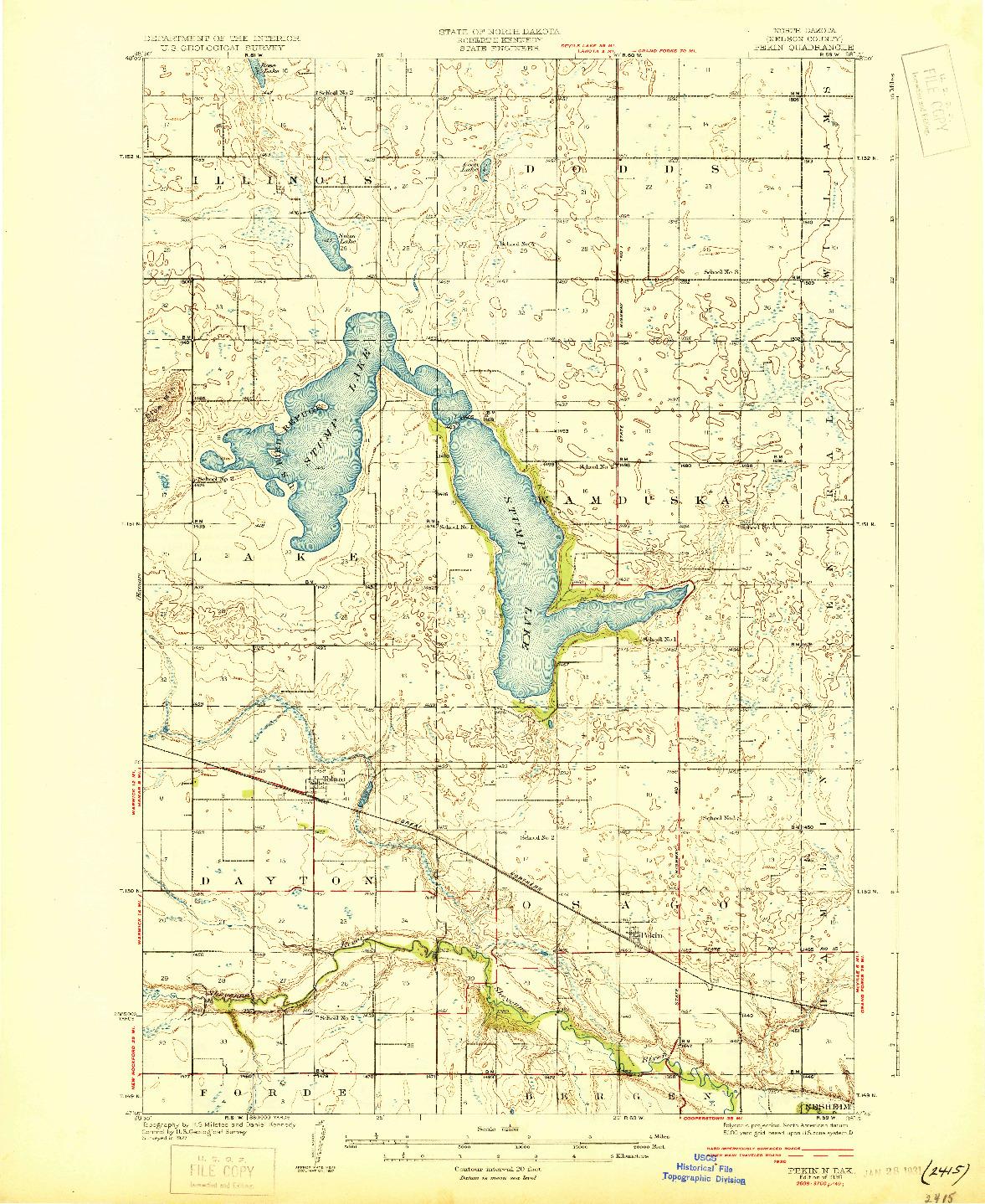 USGS 1:62500-SCALE QUADRANGLE FOR PEKIN, ND 1930