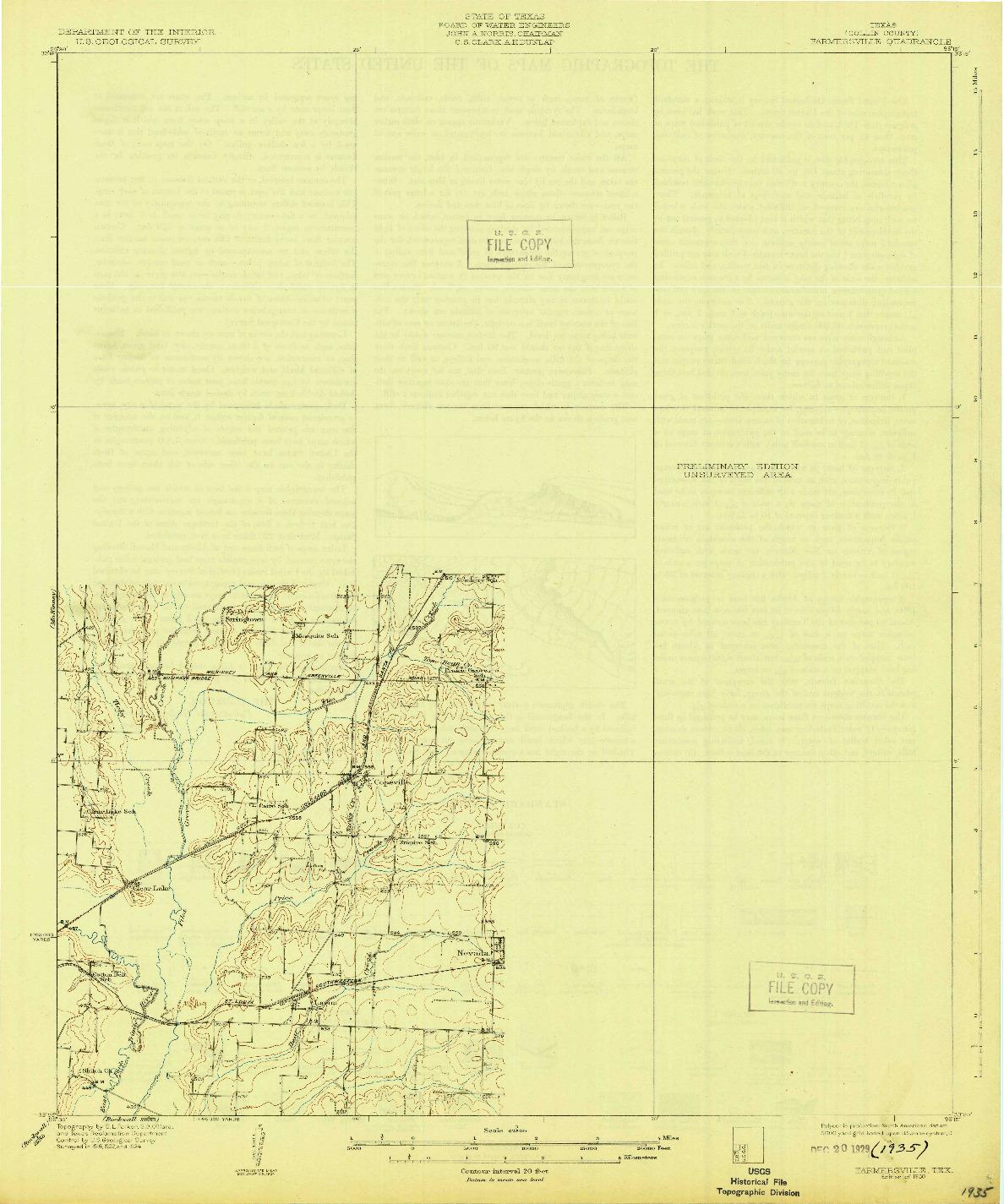 USGS 1:62500-SCALE QUADRANGLE FOR FARMERSVILLE, TX 1930