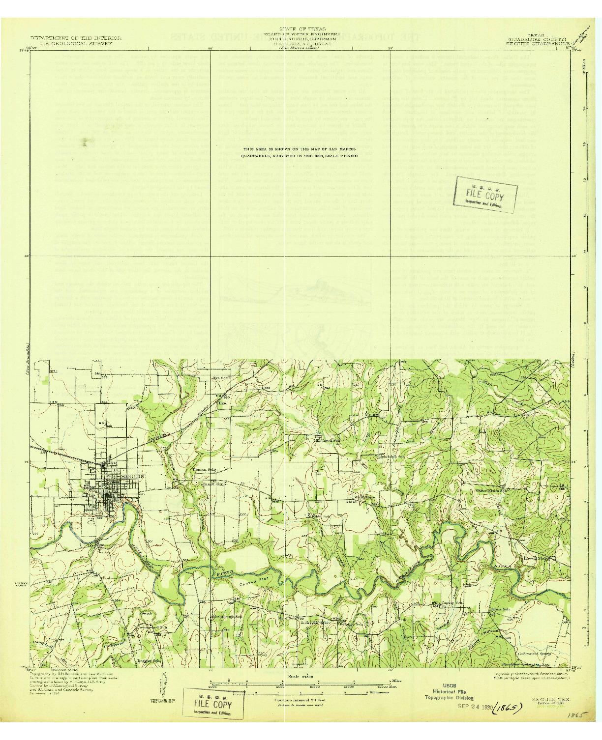 USGS 1:62500-SCALE QUADRANGLE FOR SEGUIN, TX 1930