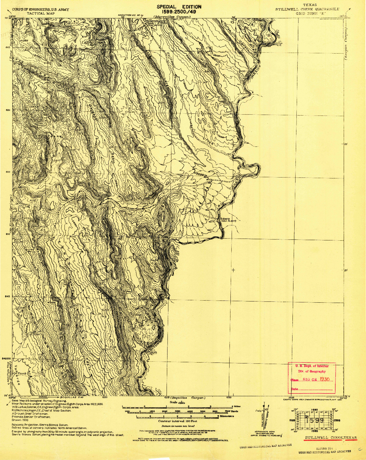 USGS 1:62500-SCALE QUADRANGLE FOR STILLWELL CREEK, TX 1930