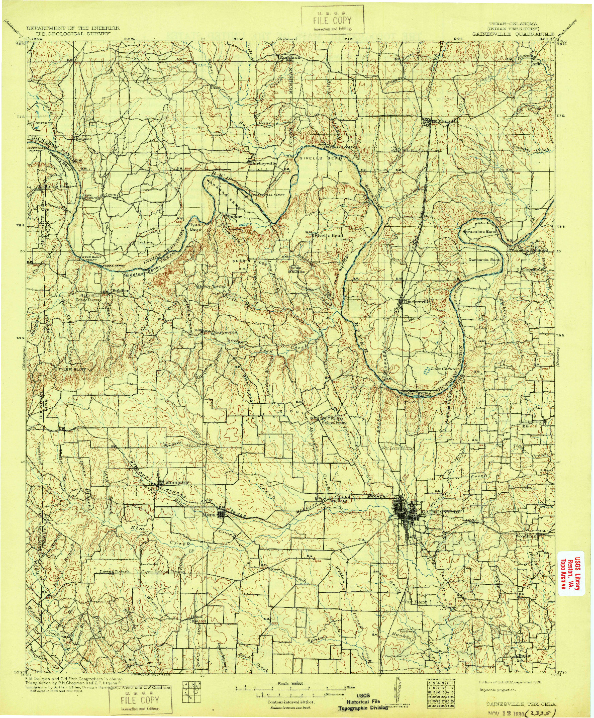 USGS 1:125000-SCALE QUADRANGLE FOR GAINESVILLE, TX 1902