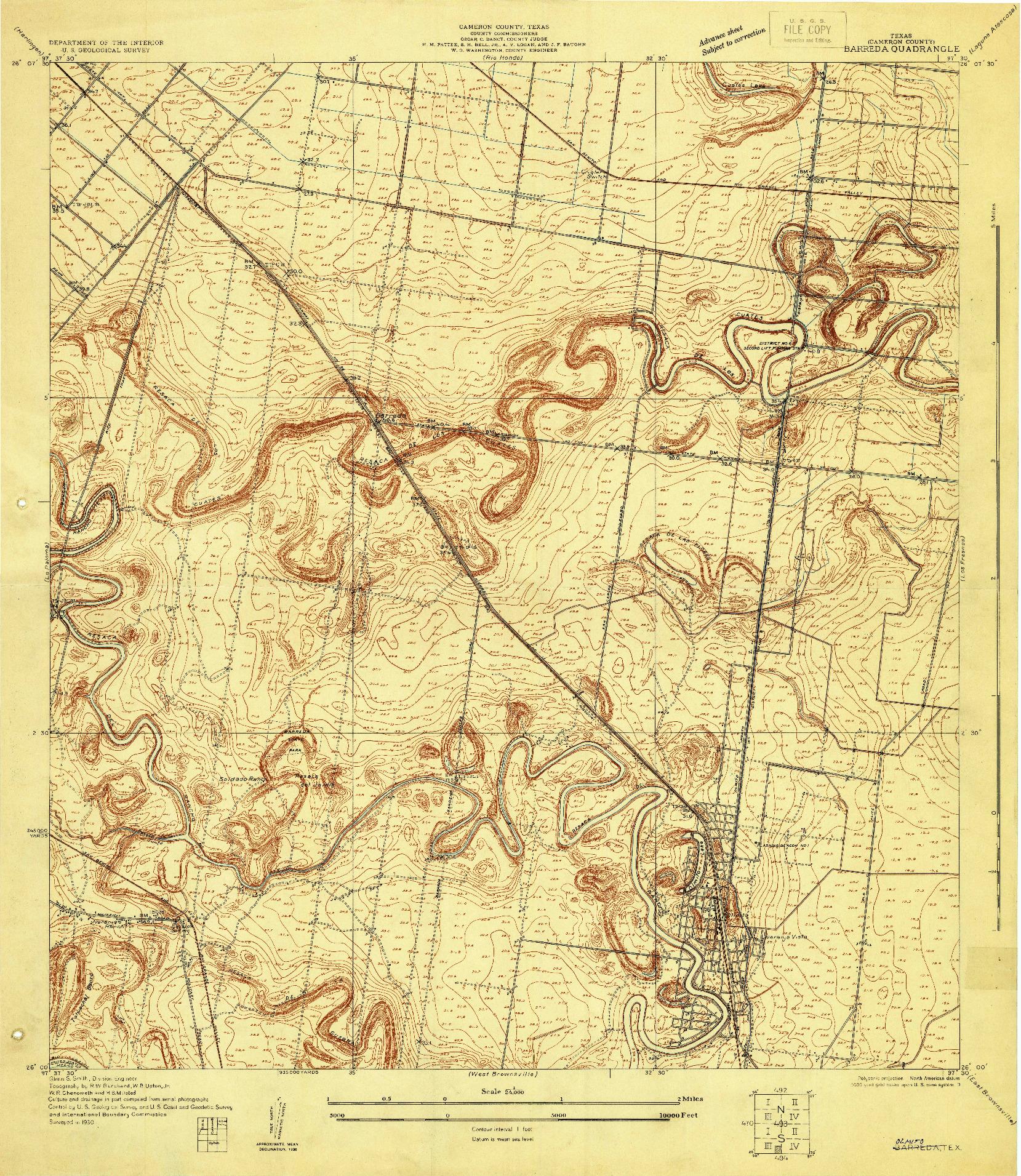USGS 1:24000-SCALE QUADRANGLE FOR BARREDA, TX 1930