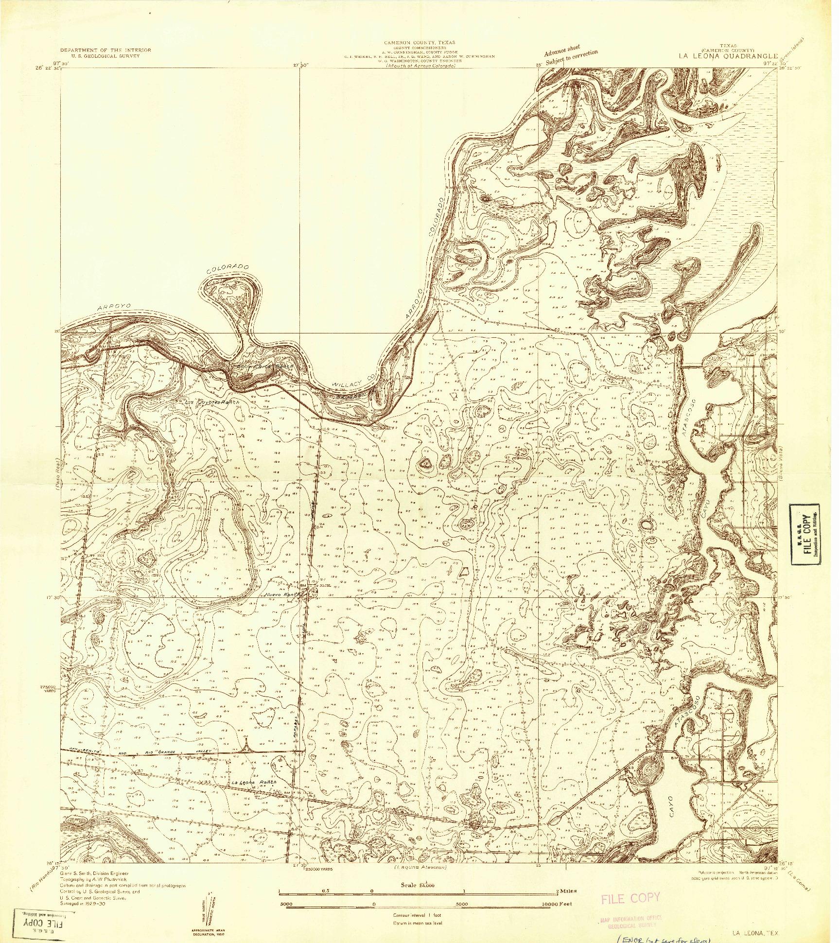 USGS 1:24000-SCALE QUADRANGLE FOR LA LEONA, TX 1930