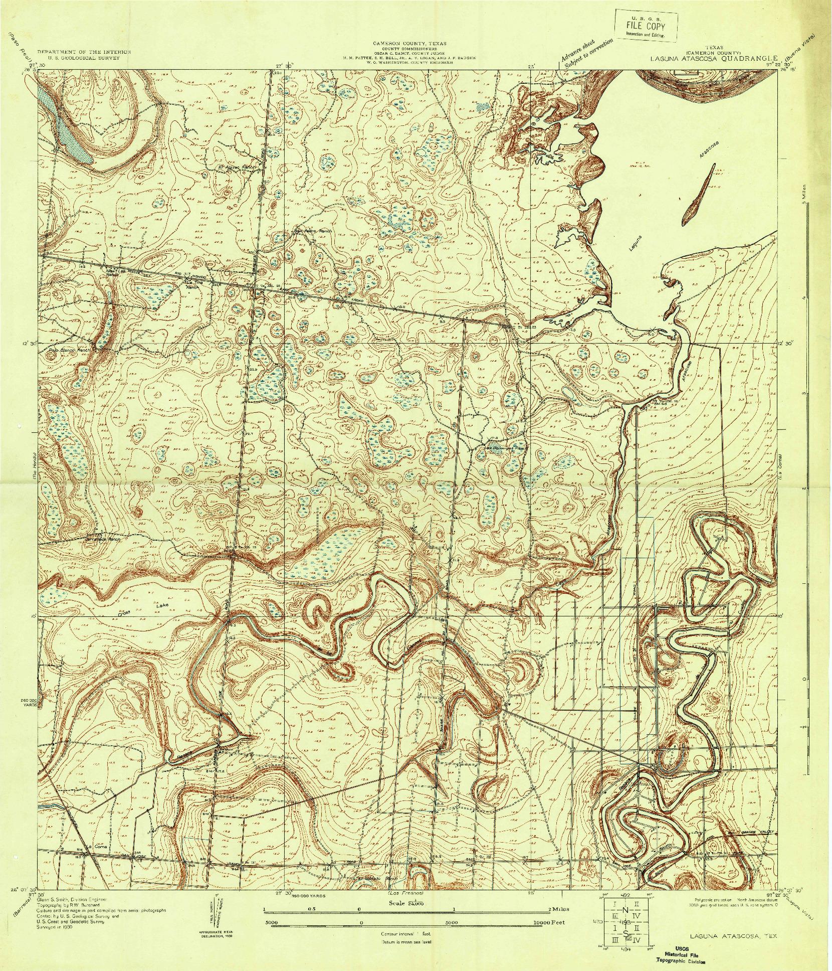 USGS 1:24000-SCALE QUADRANGLE FOR LAGUNA ATASCOSA, TX 1930