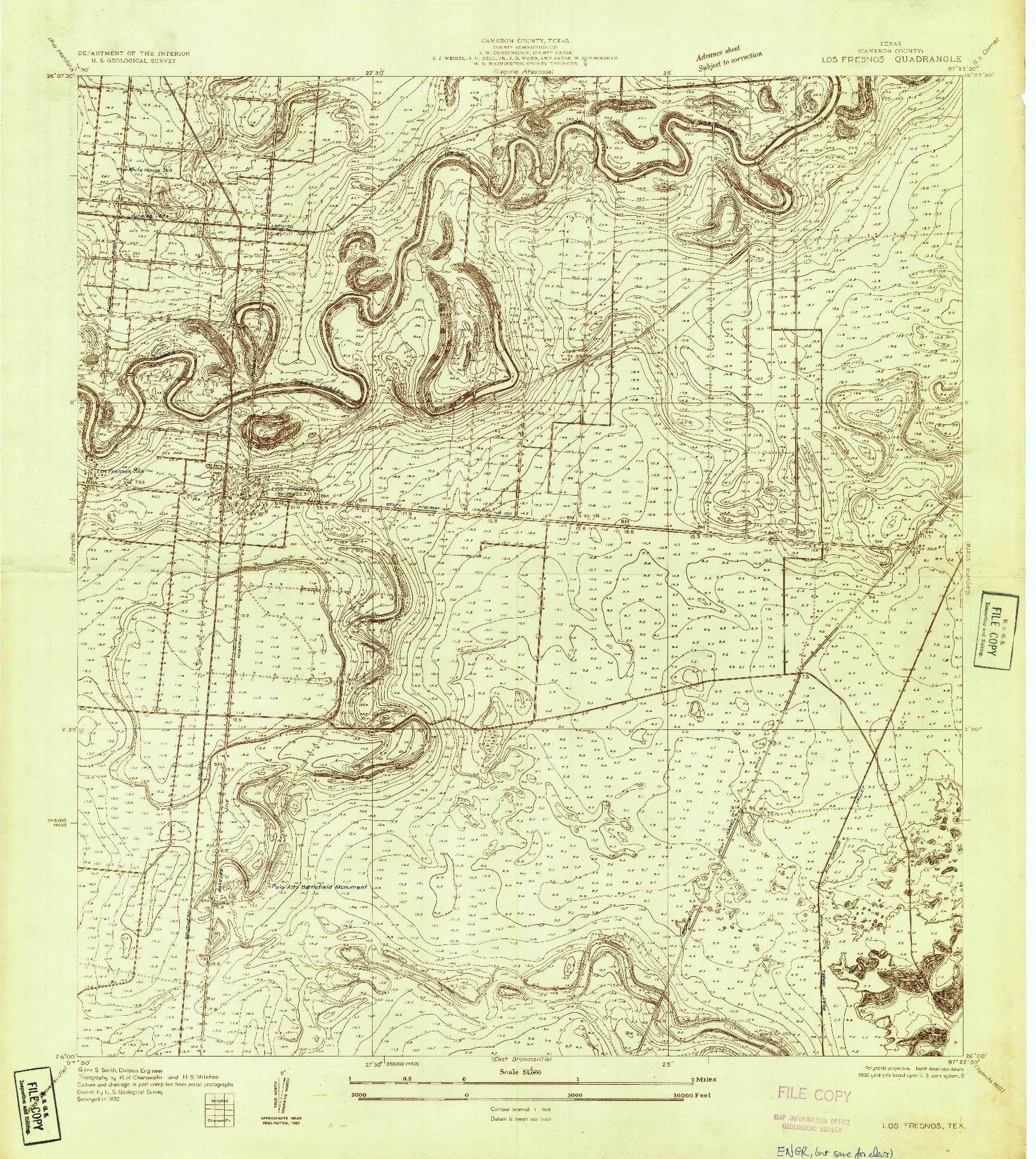 USGS 1:24000-SCALE QUADRANGLE FOR LOS FRESNOS, TX 1930