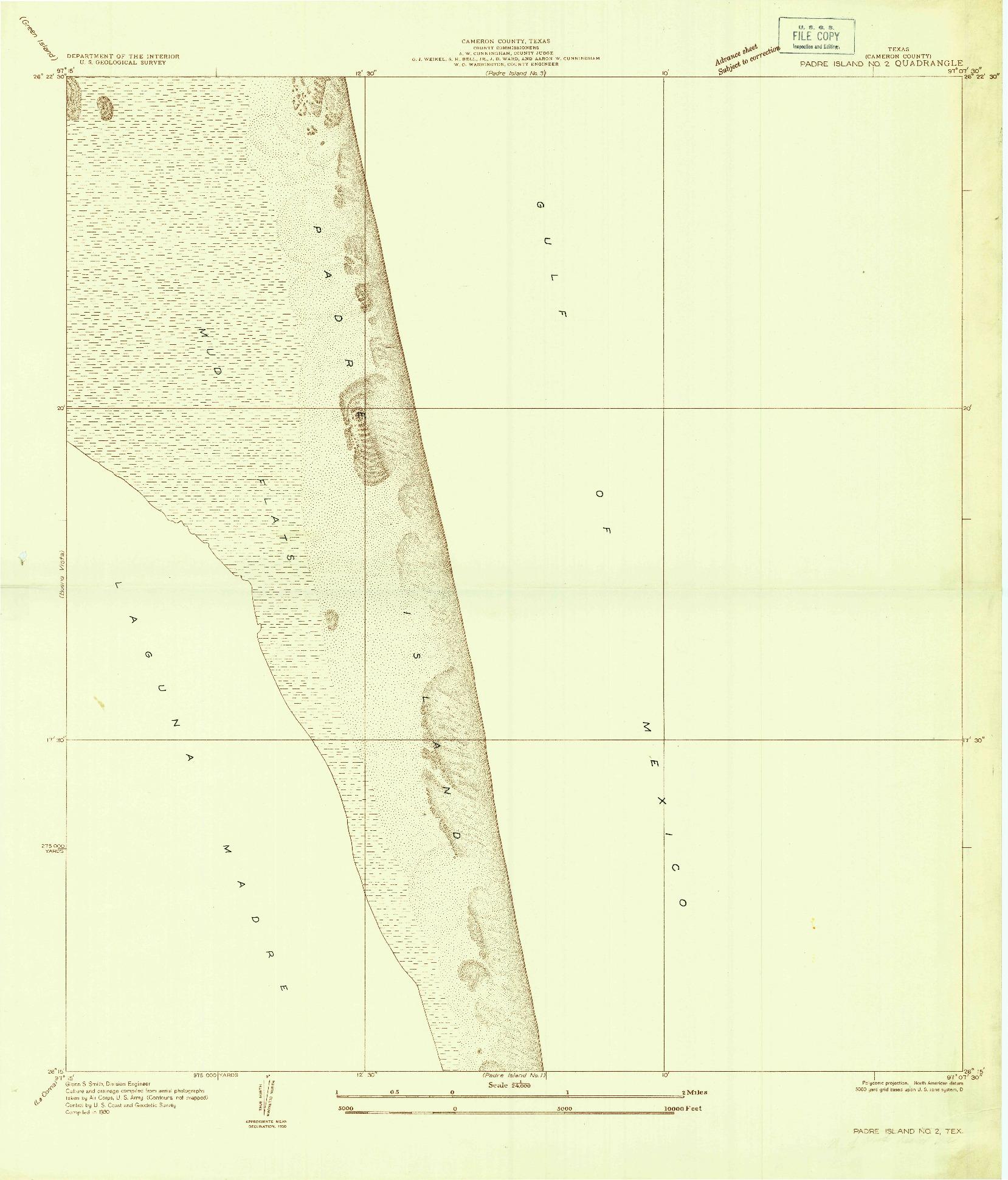 USGS 1:24000-SCALE QUADRANGLE FOR PADRE ISLAND NO. 2, TX 1930