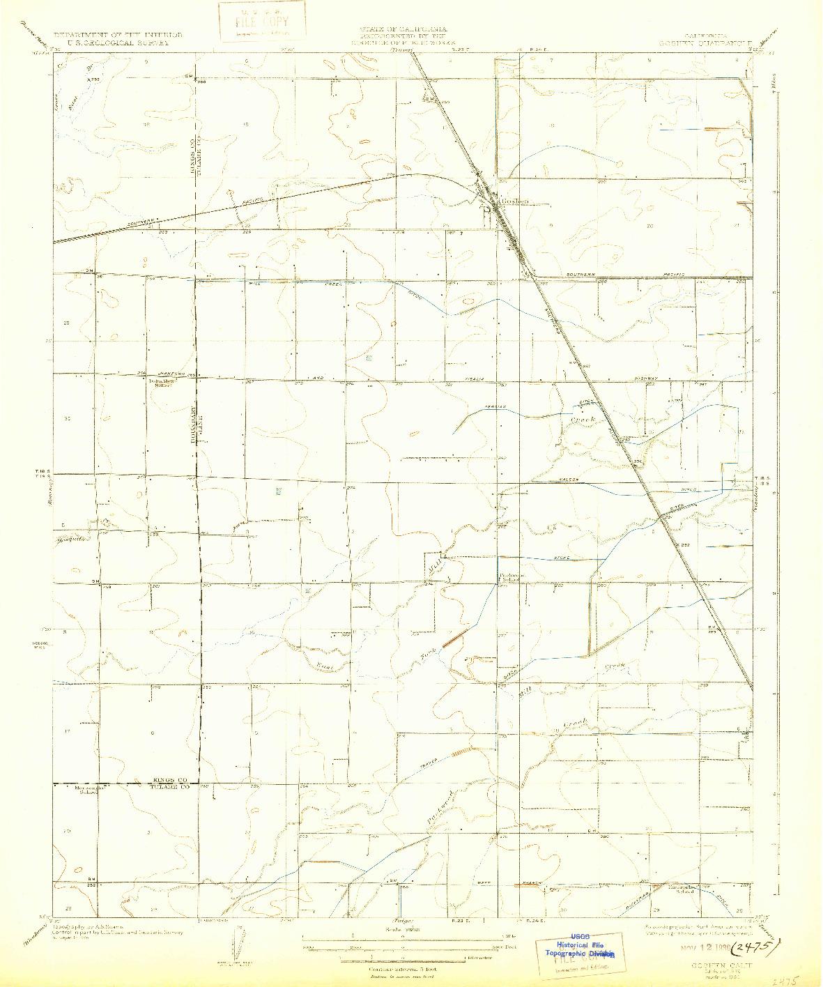 USGS 1:31680-SCALE QUADRANGLE FOR GOSHEN, CA 1926