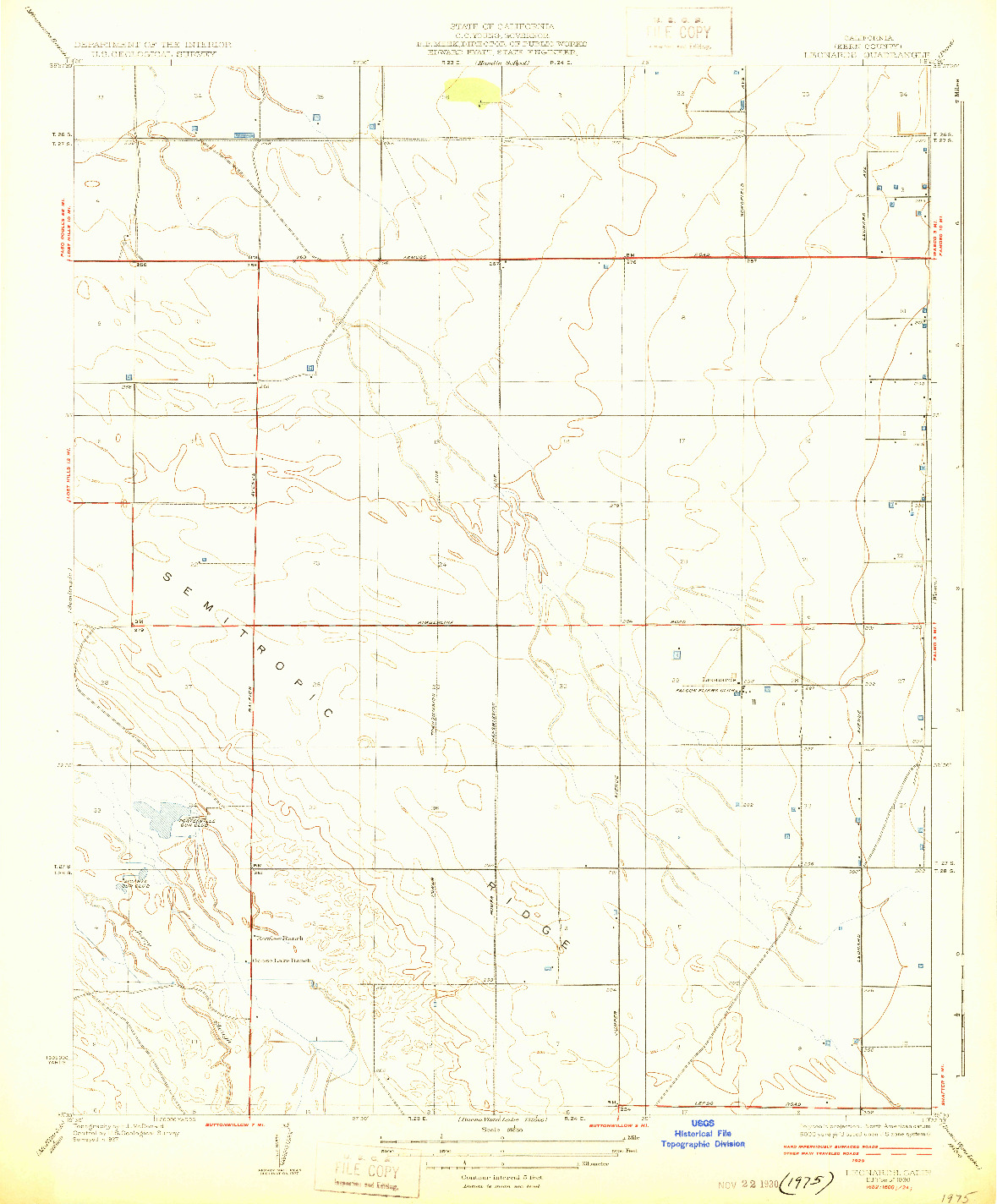 USGS 1:31680-SCALE QUADRANGLE FOR LEONARDS, CA 1930