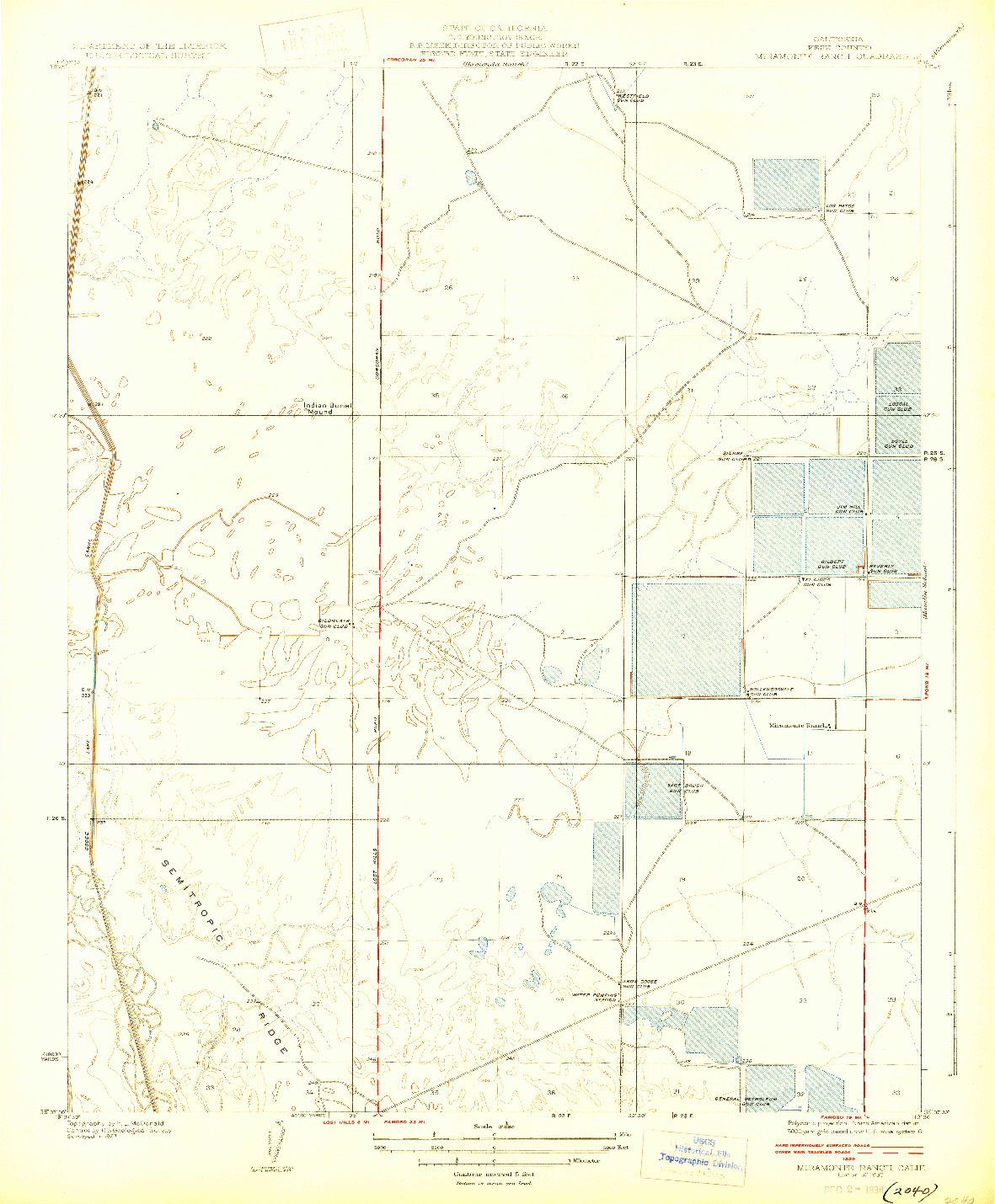USGS 1:31680-SCALE QUADRANGLE FOR MIRAMONTE RANCH, CA 1930