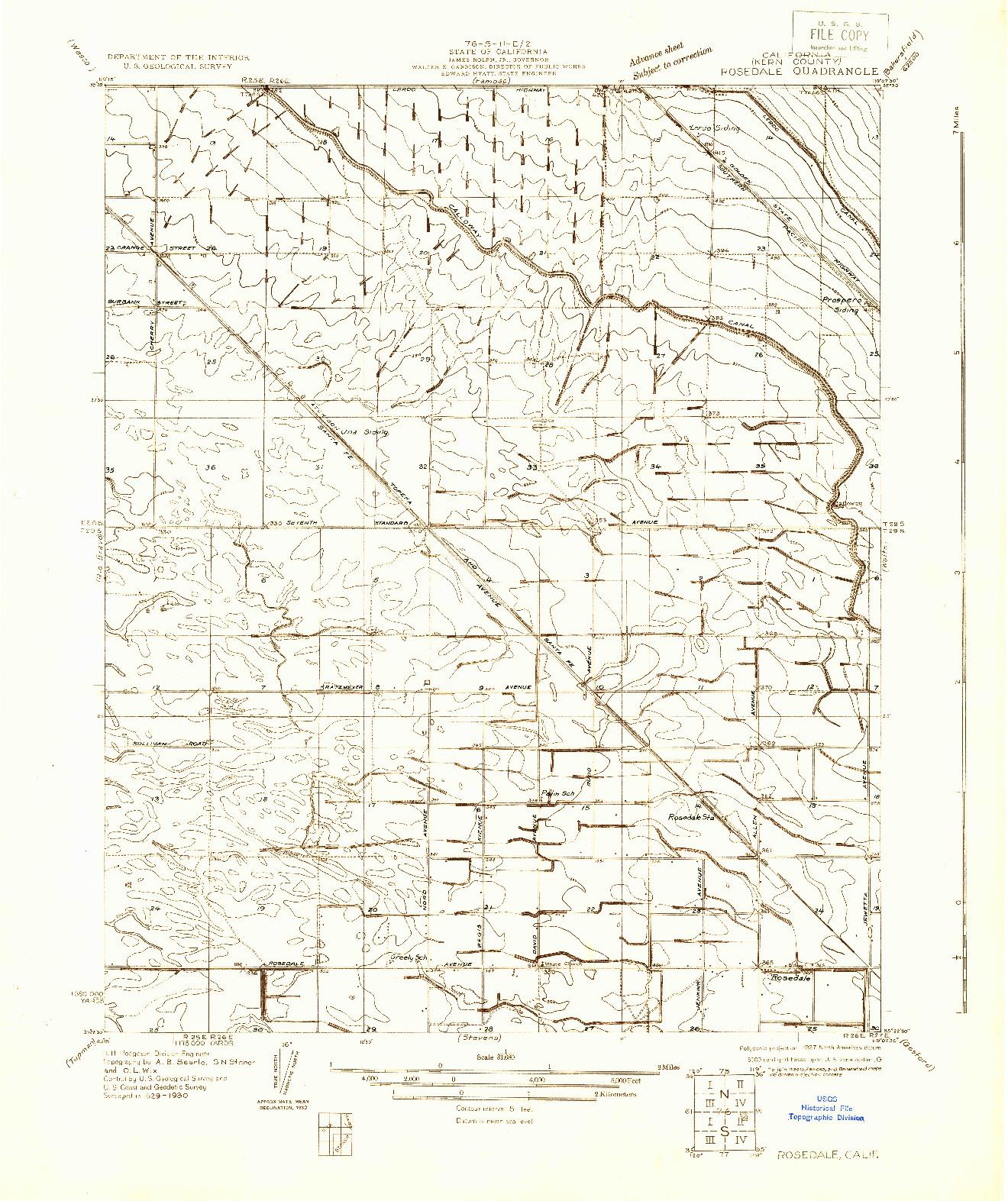 USGS 1:31680-SCALE QUADRANGLE FOR ROSEDALE, CA 1930