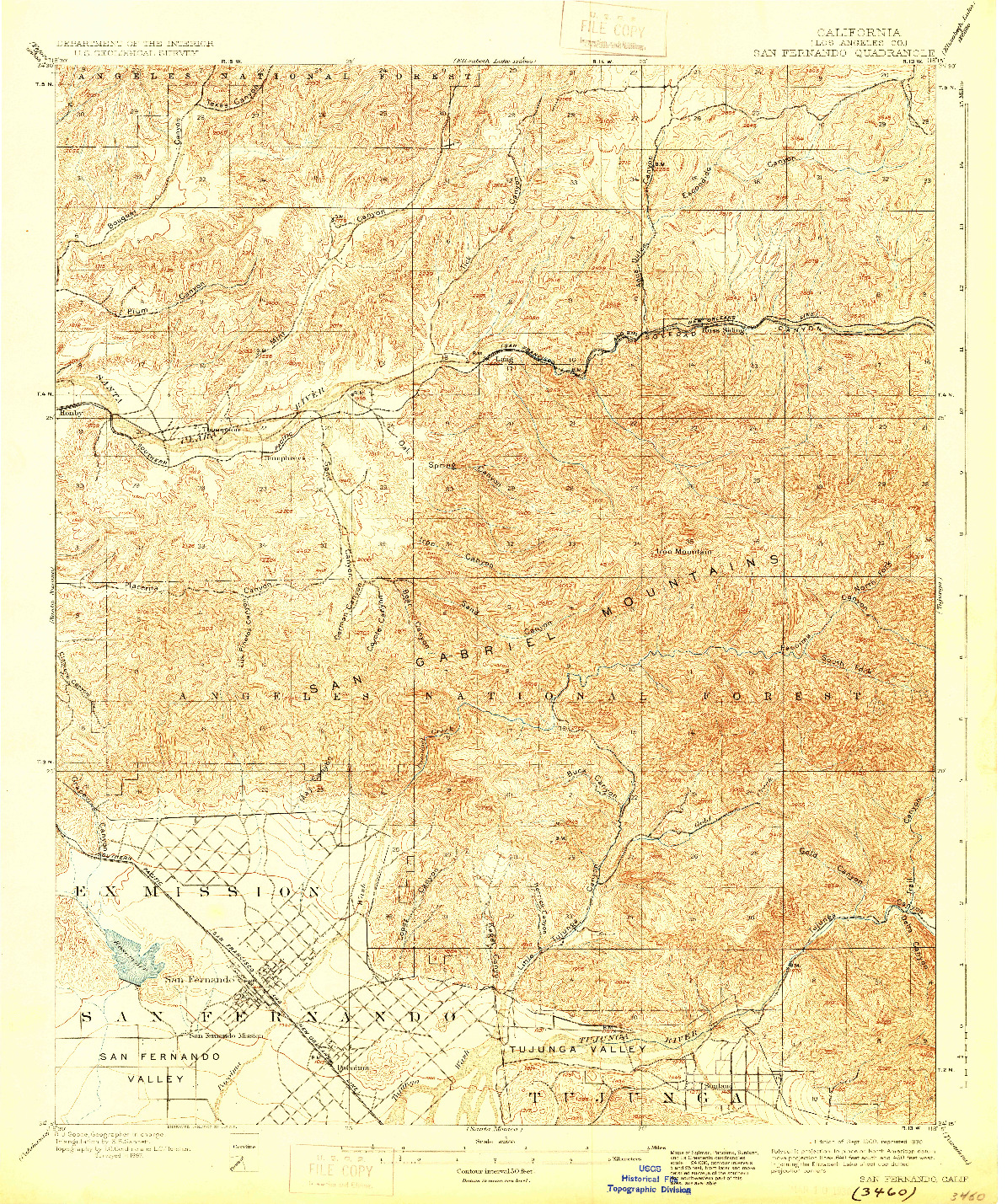 USGS 1:62500-SCALE QUADRANGLE FOR SAN FERNANDO, CA 1900