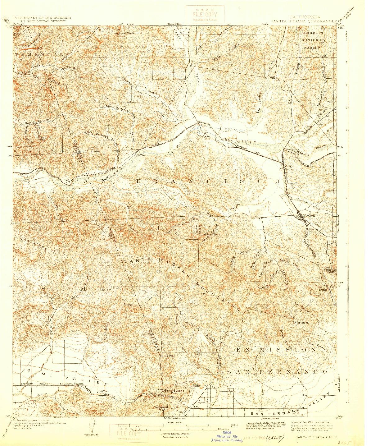 USGS 1:62500-SCALE QUADRANGLE FOR SANTA SUSANA, CA 1903