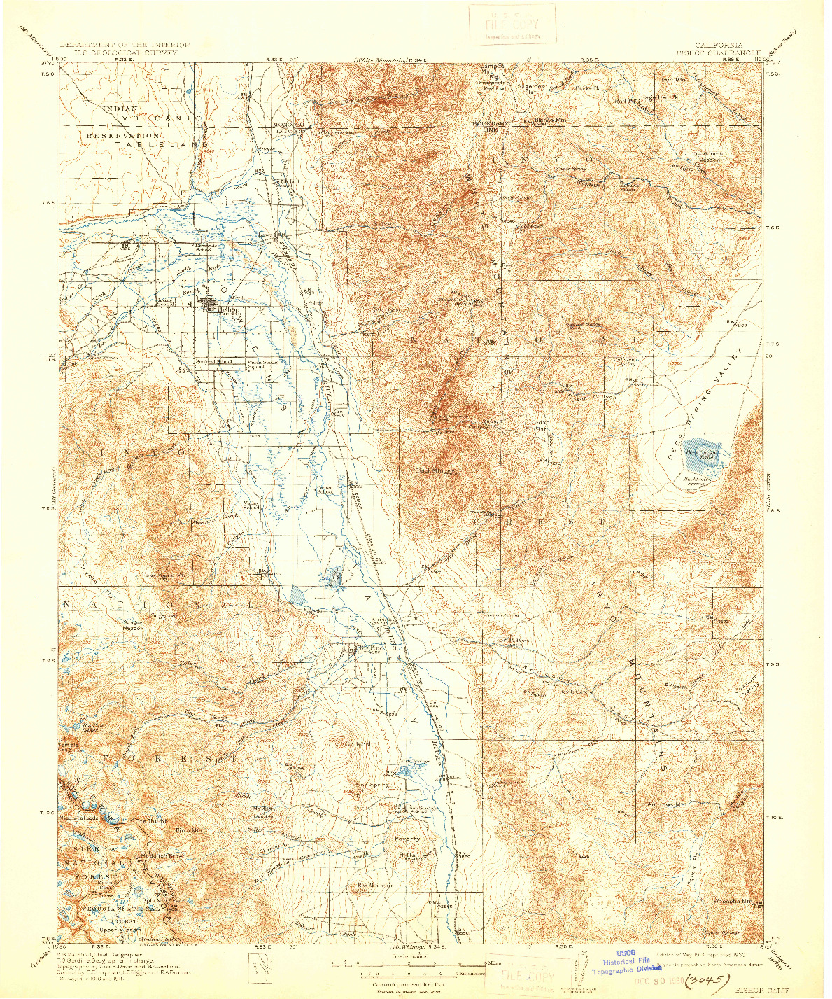 USGS 1:125000-SCALE QUADRANGLE FOR BISHOP, CA 1913