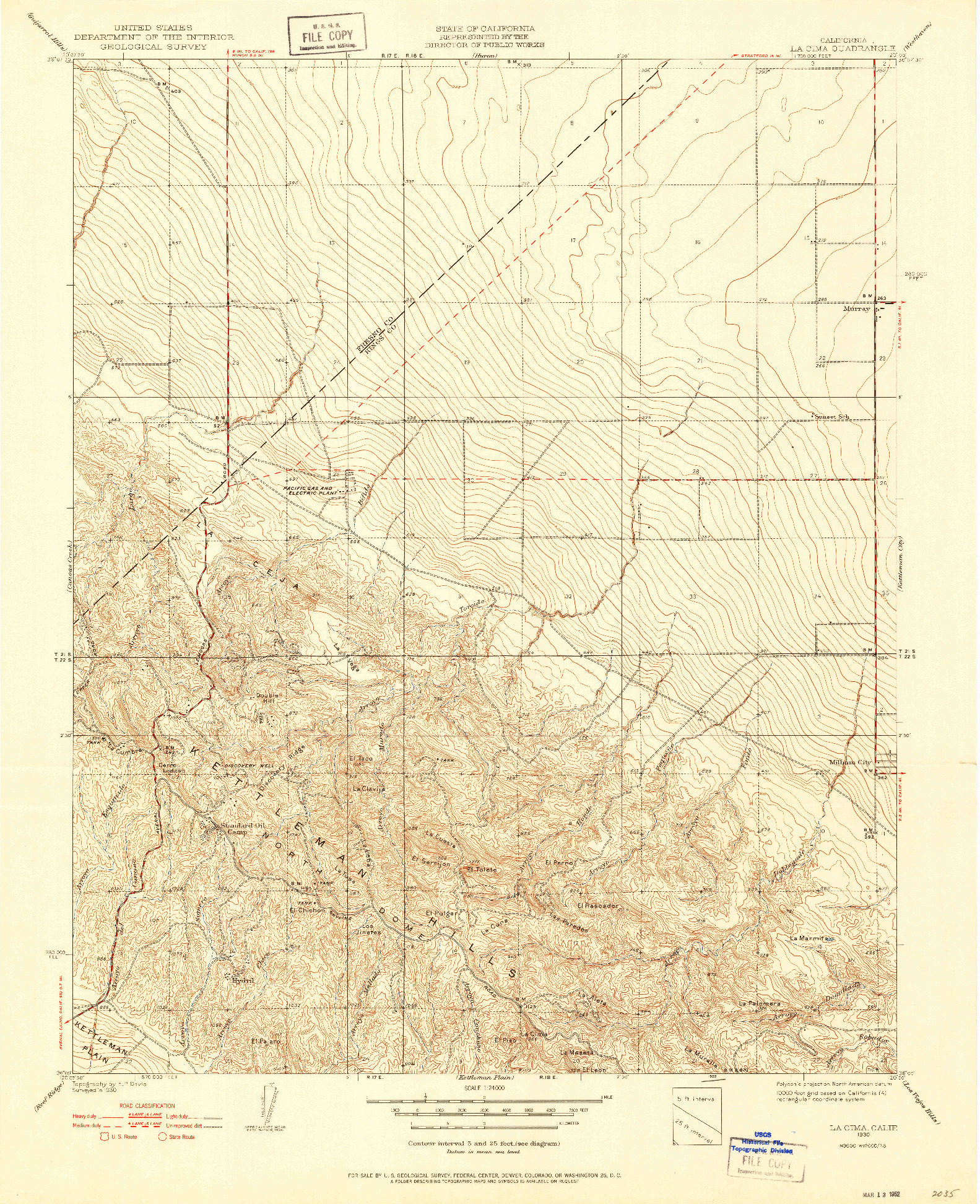 USGS 1:24000-SCALE QUADRANGLE FOR LA CIMA, CA 1930