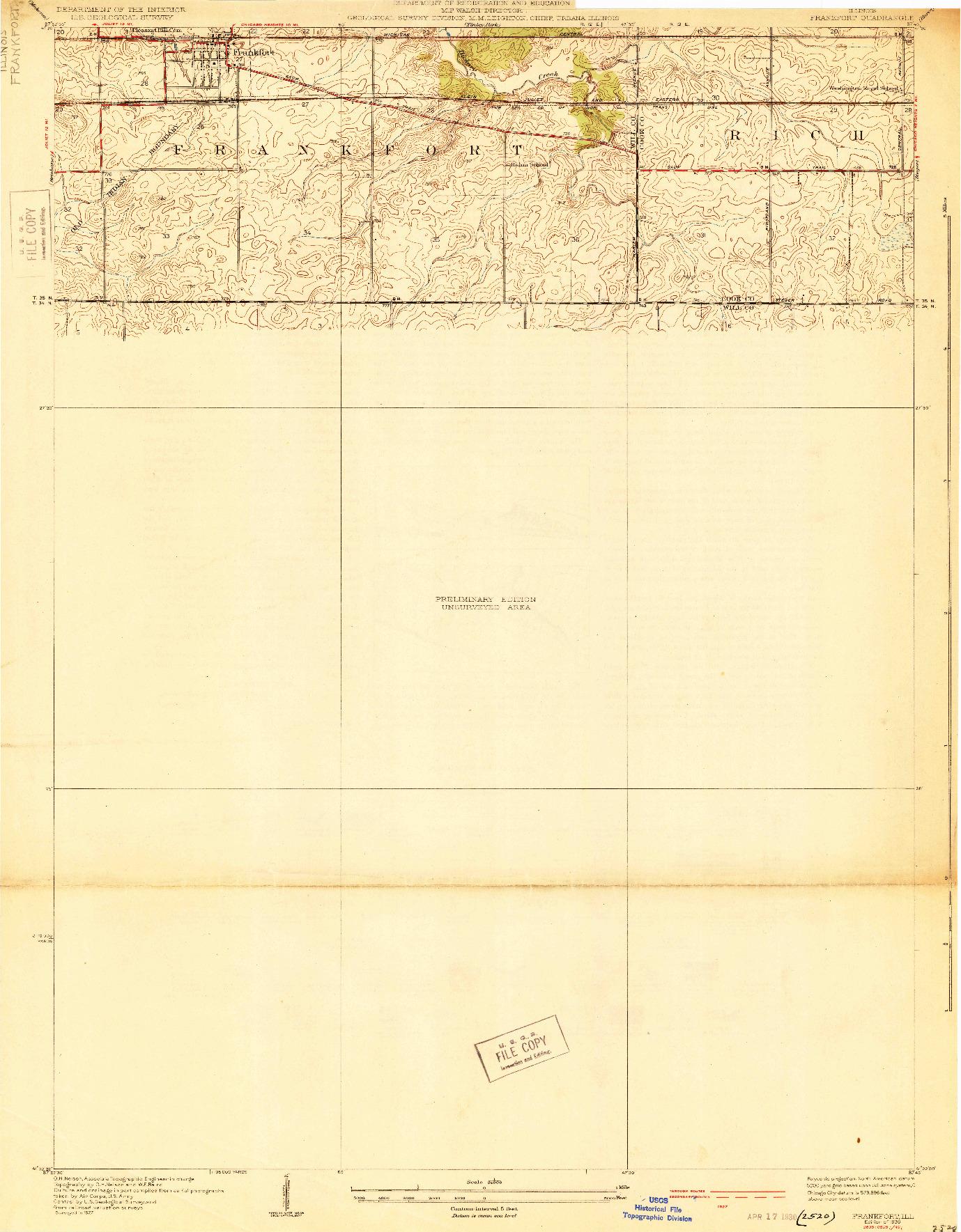 USGS 1:24000-SCALE QUADRANGLE FOR FRANKFORT, IL 1930