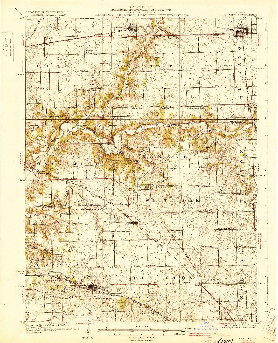 USGS 1:62500-SCALE QUADRANGLE FOR DANVERS, IL 1930