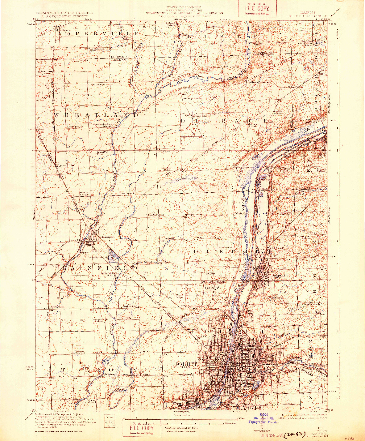 USGS 1:62500-SCALE QUADRANGLE FOR JOLIET, IL 1923