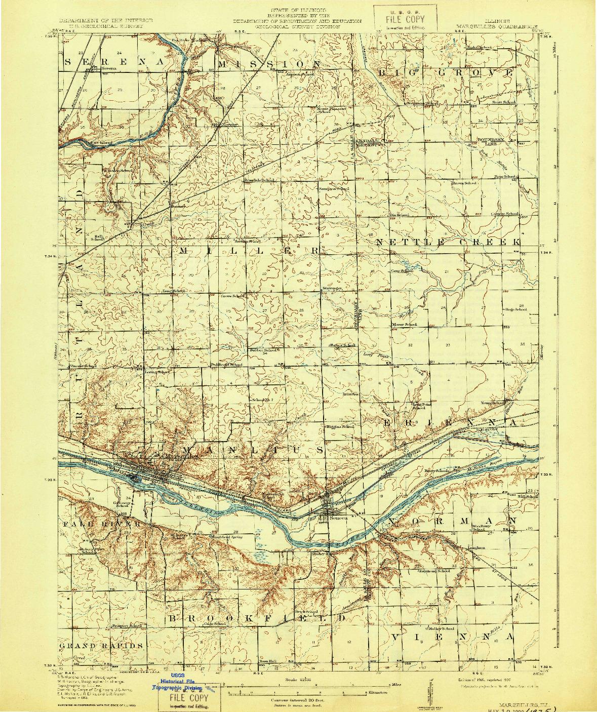 USGS 1:62500-SCALE QUADRANGLE FOR MARSEILLES, IL 1916