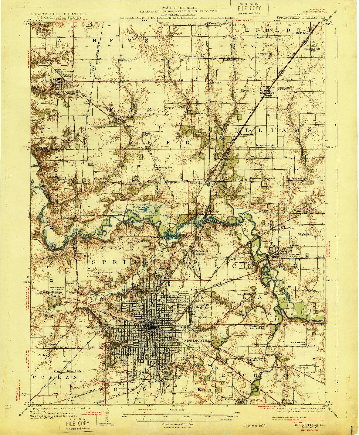 USGS 1:62500-SCALE QUADRANGLE FOR SPRINGFIELD, IL 1930