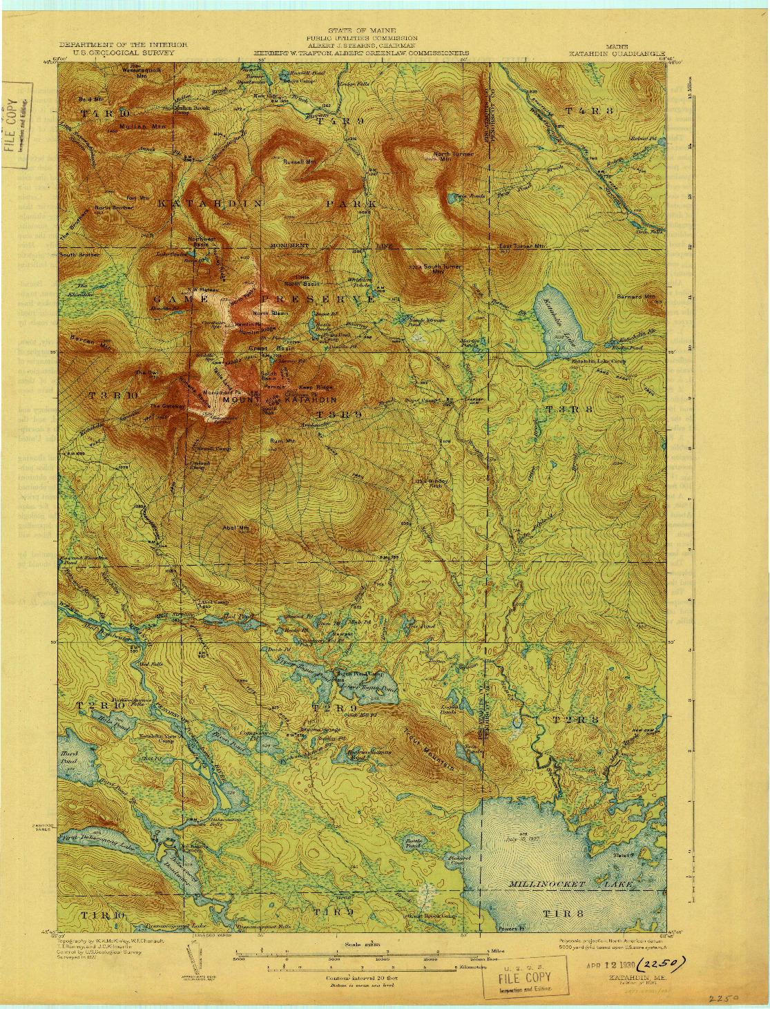 USGS 1:62500-SCALE QUADRANGLE FOR KATAHDIN, ME 1930