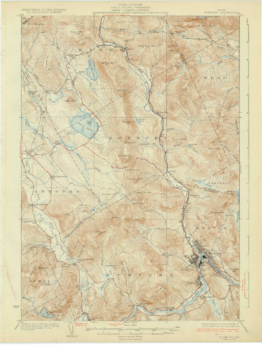 USGS 1:62500-SCALE QUADRANGLE FOR RUMFORD, ME 1930