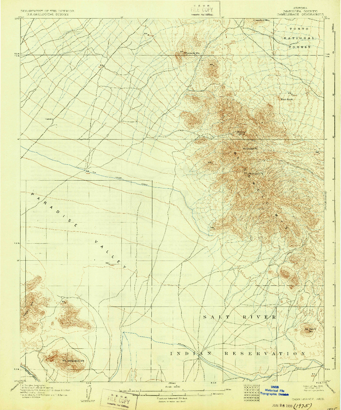 USGS 1:62500-SCALE QUADRANGLE FOR CAMELSBACK, AZ 1906