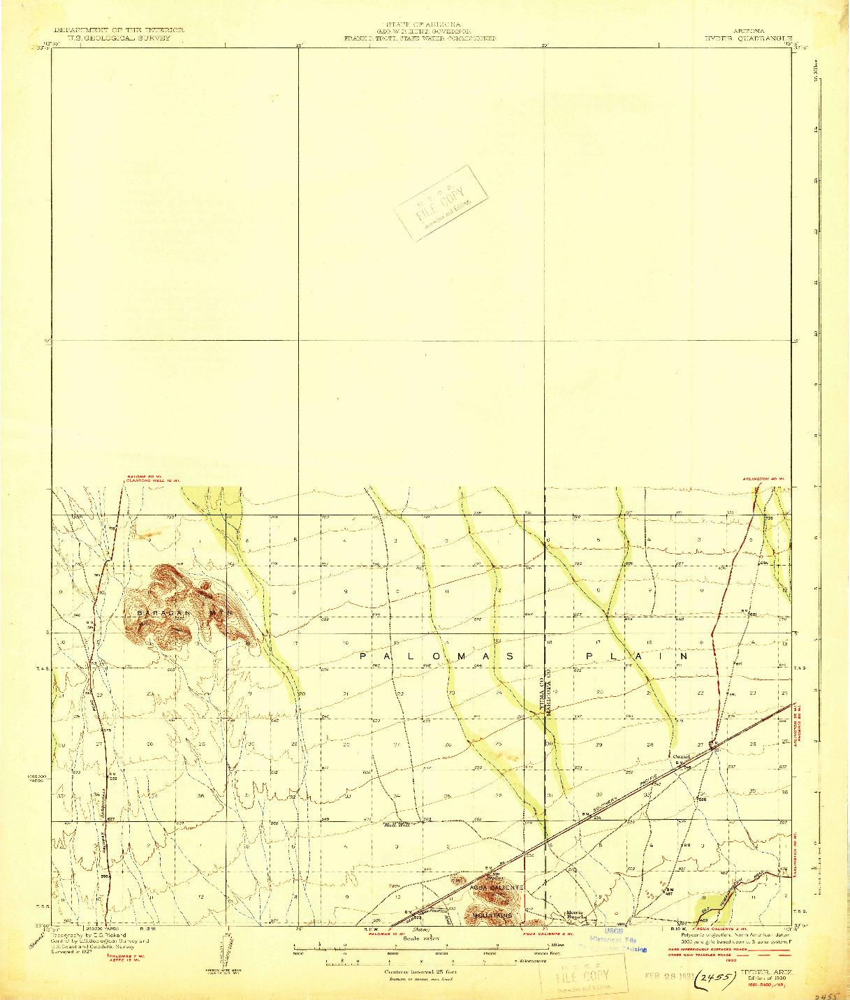 USGS 1:62500-SCALE QUADRANGLE FOR HYDER, AZ 1930