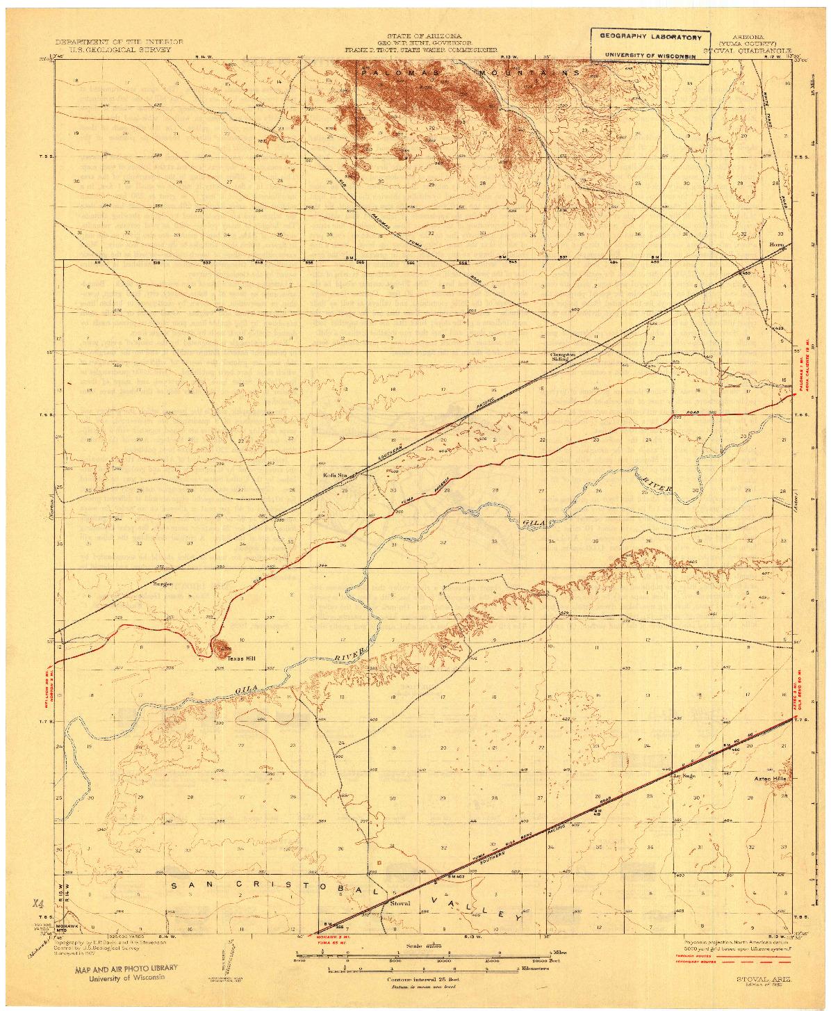 USGS 1:62500-SCALE QUADRANGLE FOR STOVAL, AZ 1930