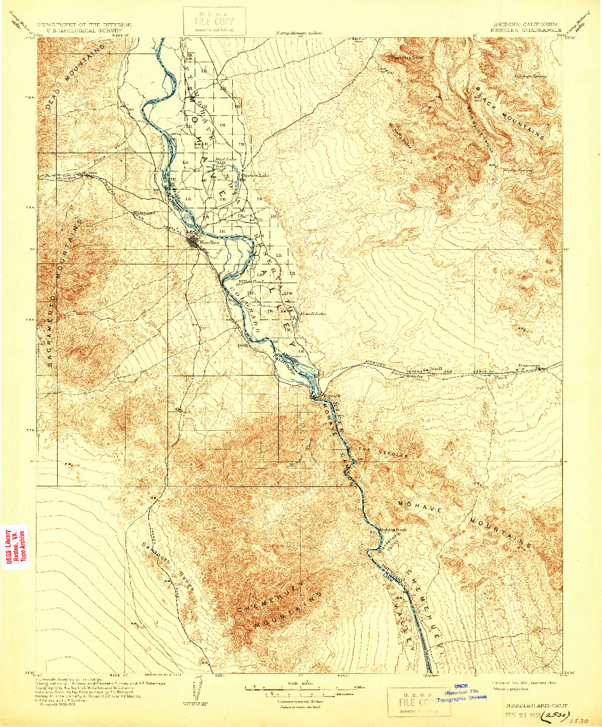 USGS 1:125000-SCALE QUADRANGLE FOR NEEDLES, AZ 1904