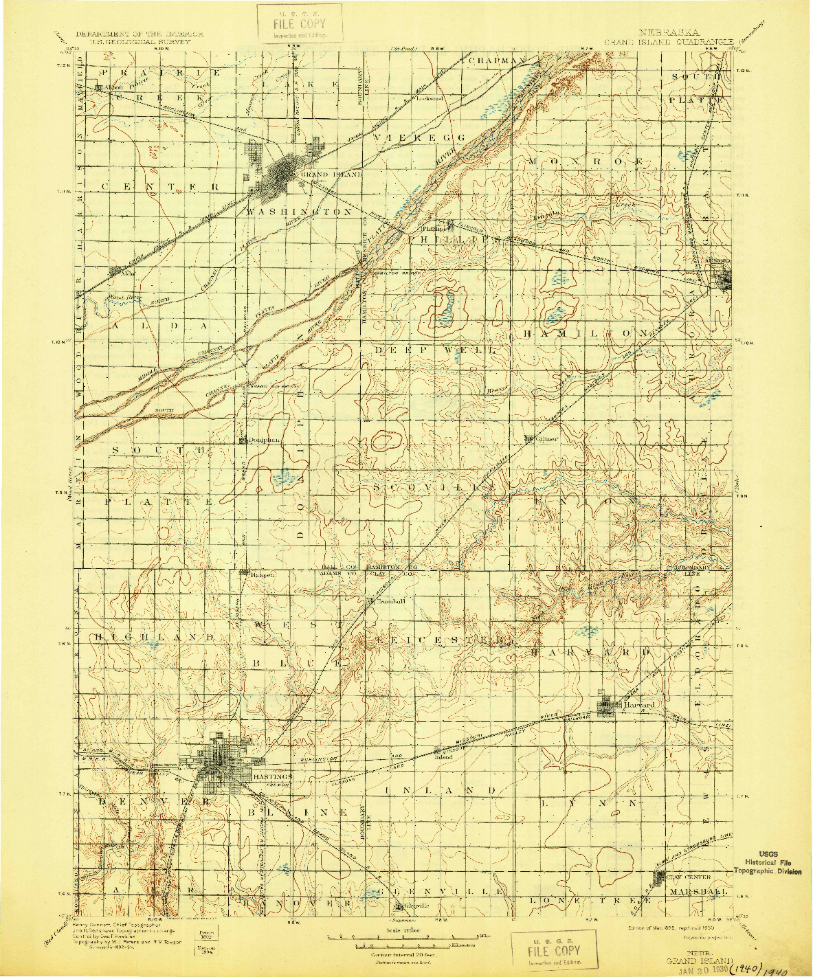 USGS 1:125000-SCALE QUADRANGLE FOR GRAND ISLAND, NE 1898