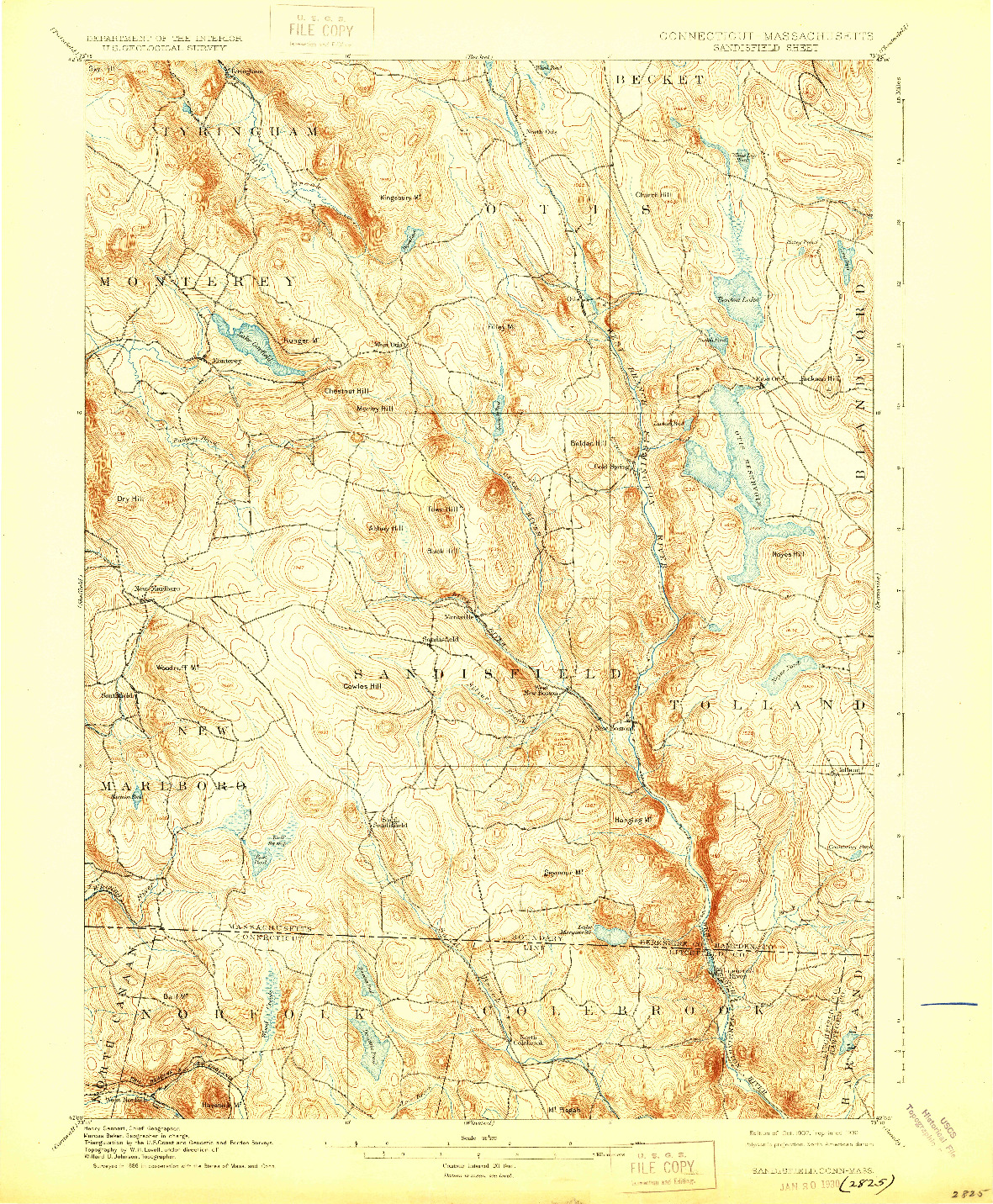 USGS 1:62500-SCALE QUADRANGLE FOR SANDISFIELD, CT 1907