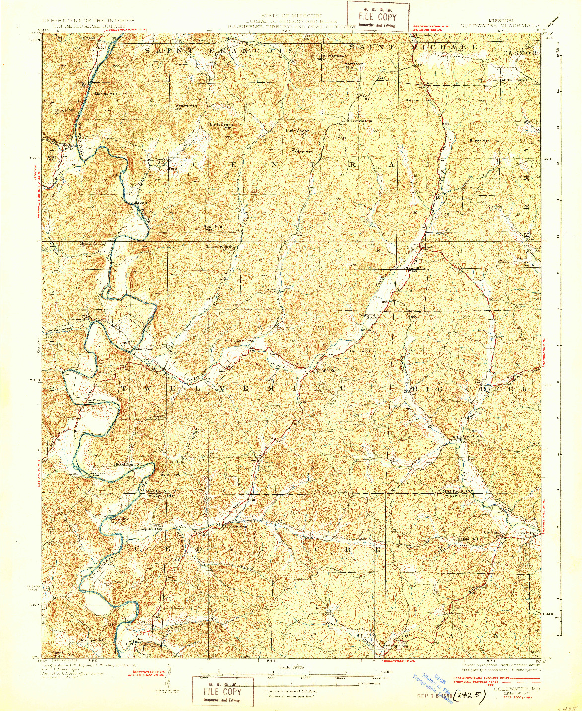 USGS 1:62500-SCALE QUADRANGLE FOR COLDWATER, MO 1930