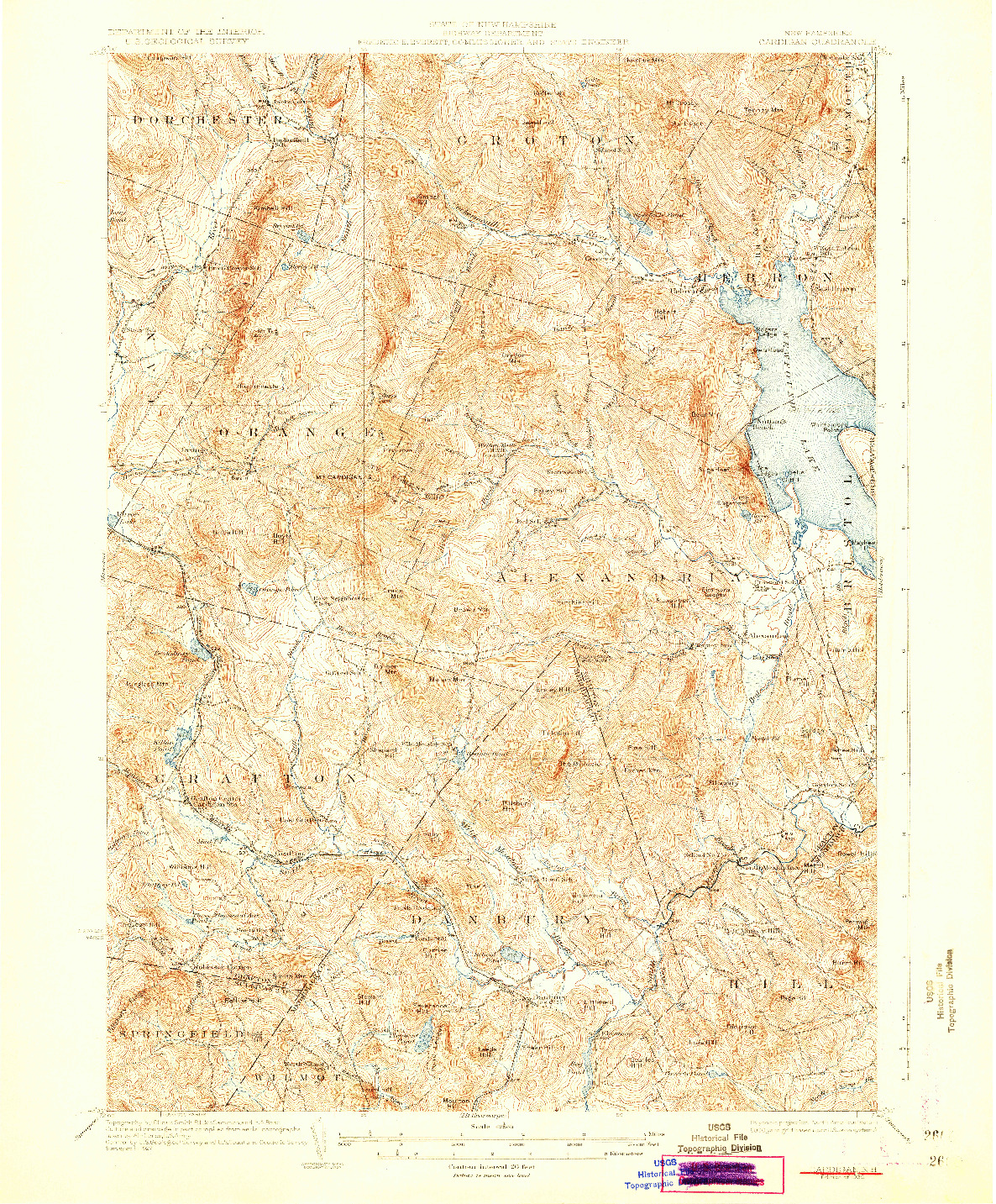 USGS 1:62500-SCALE QUADRANGLE FOR CARDIGAN, NH 1930