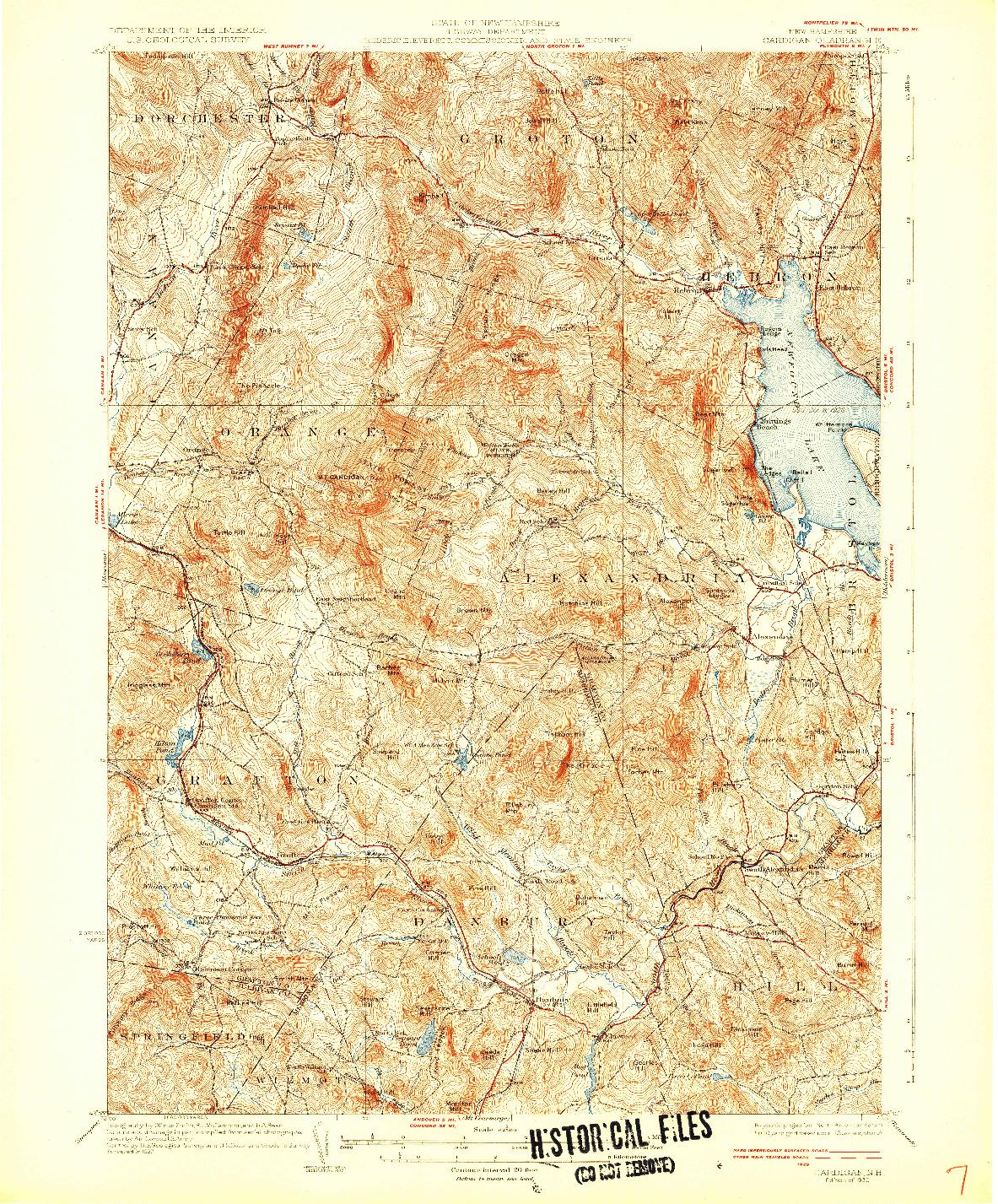 USGS 1:62500-SCALE QUADRANGLE FOR CARDIGAN, NH 1930