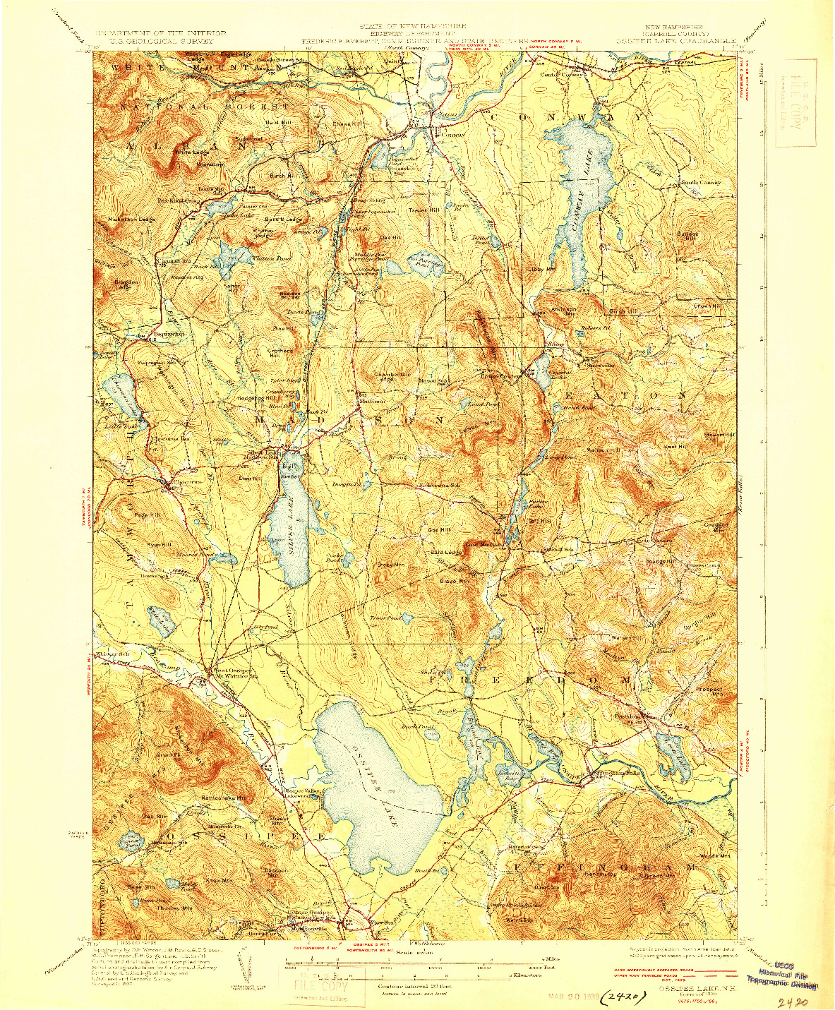 USGS 1:62500-SCALE QUADRANGLE FOR OSSIPEE LAKE, NH 1930